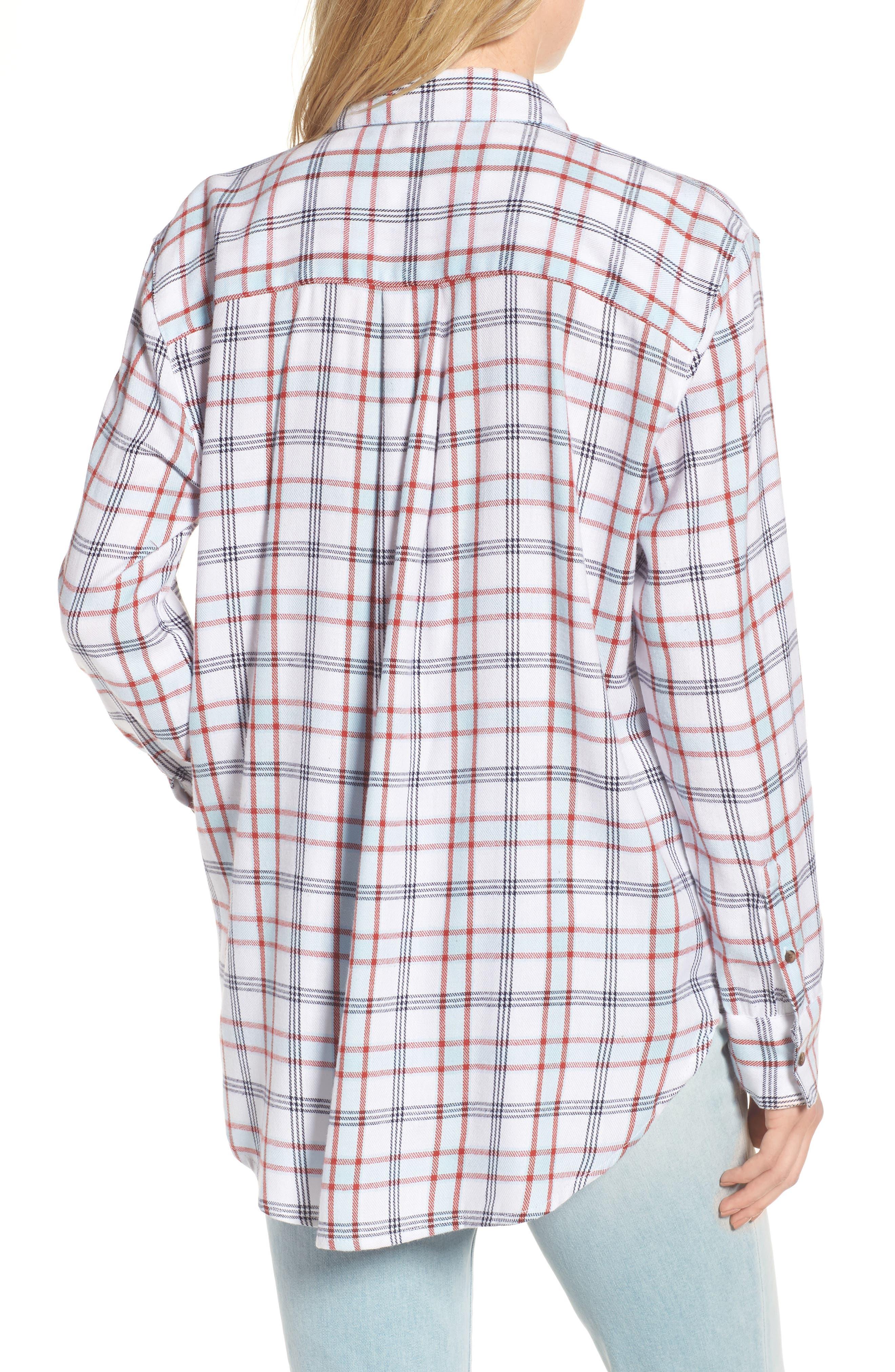 Tartan Boyfriend Shirt,                             Alternate thumbnail 2, color,                             White Weekend Tartan
