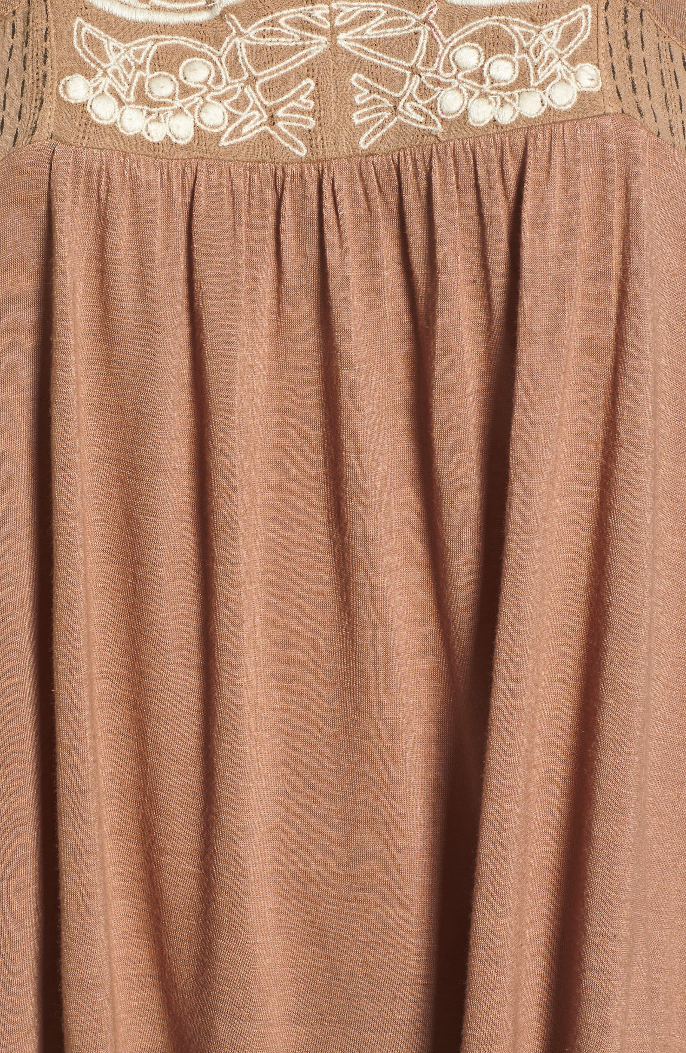 Embroidered Shell,                             Alternate thumbnail 5, color,                             Toffee Blush