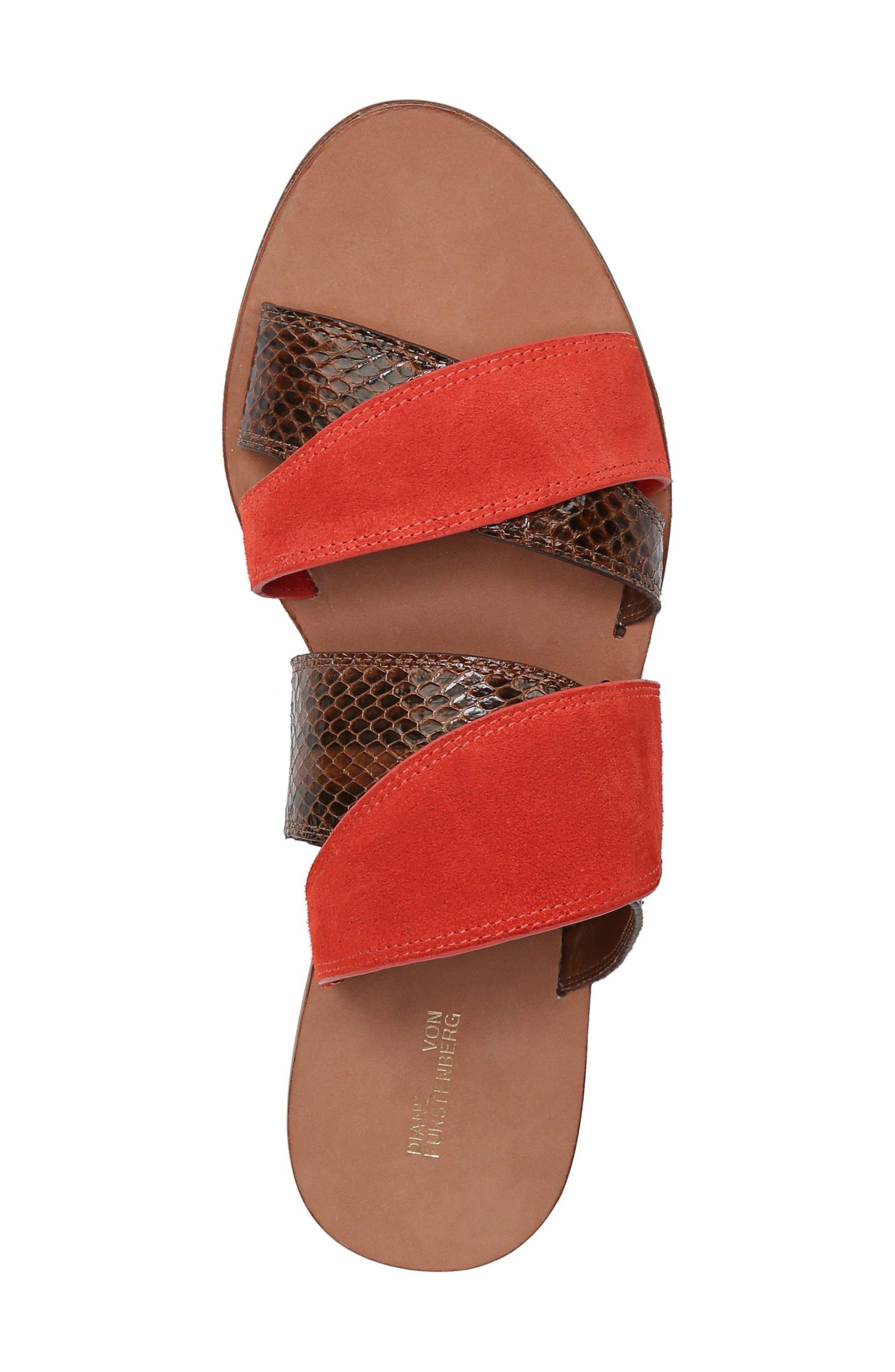 Blake Cross Strap Slide Sandal,                             Alternate thumbnail 5, color,                             Caramel/ Red