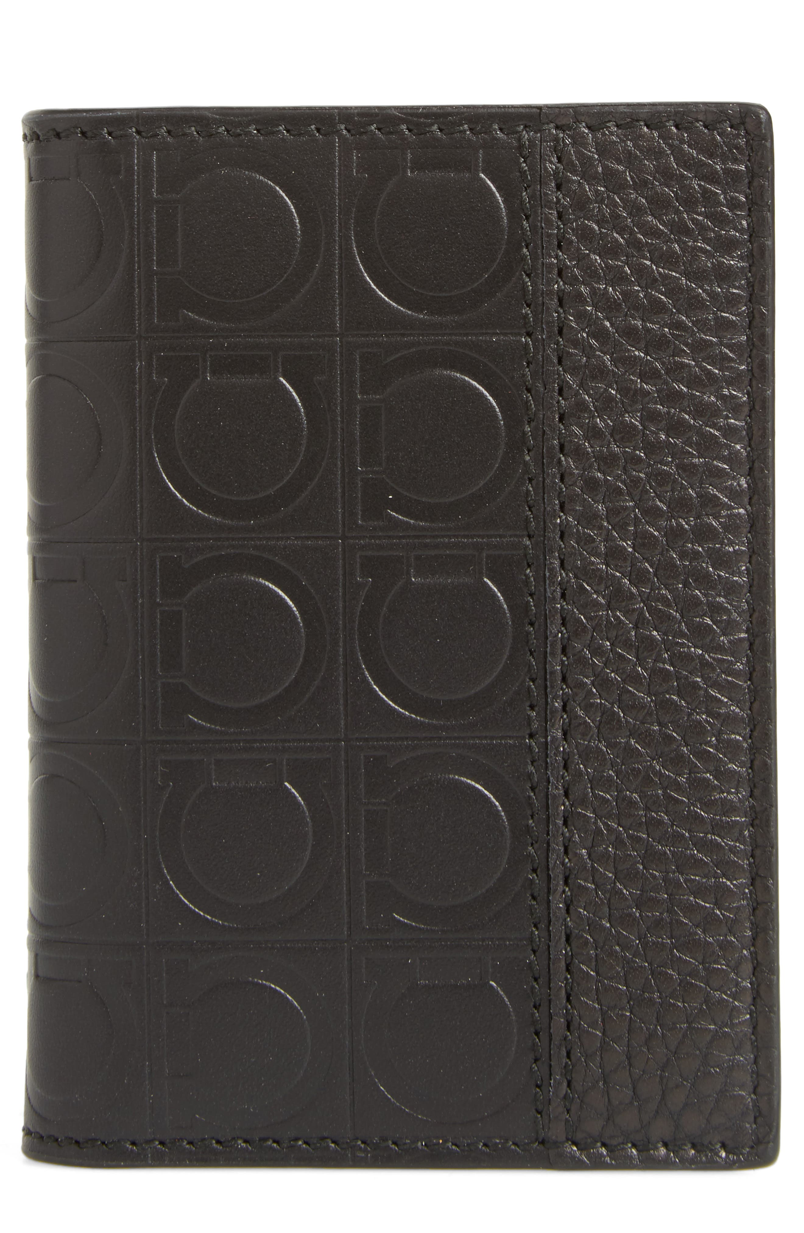 Firenze Leather Folding Card Case,                             Main thumbnail 1, color,                             Black