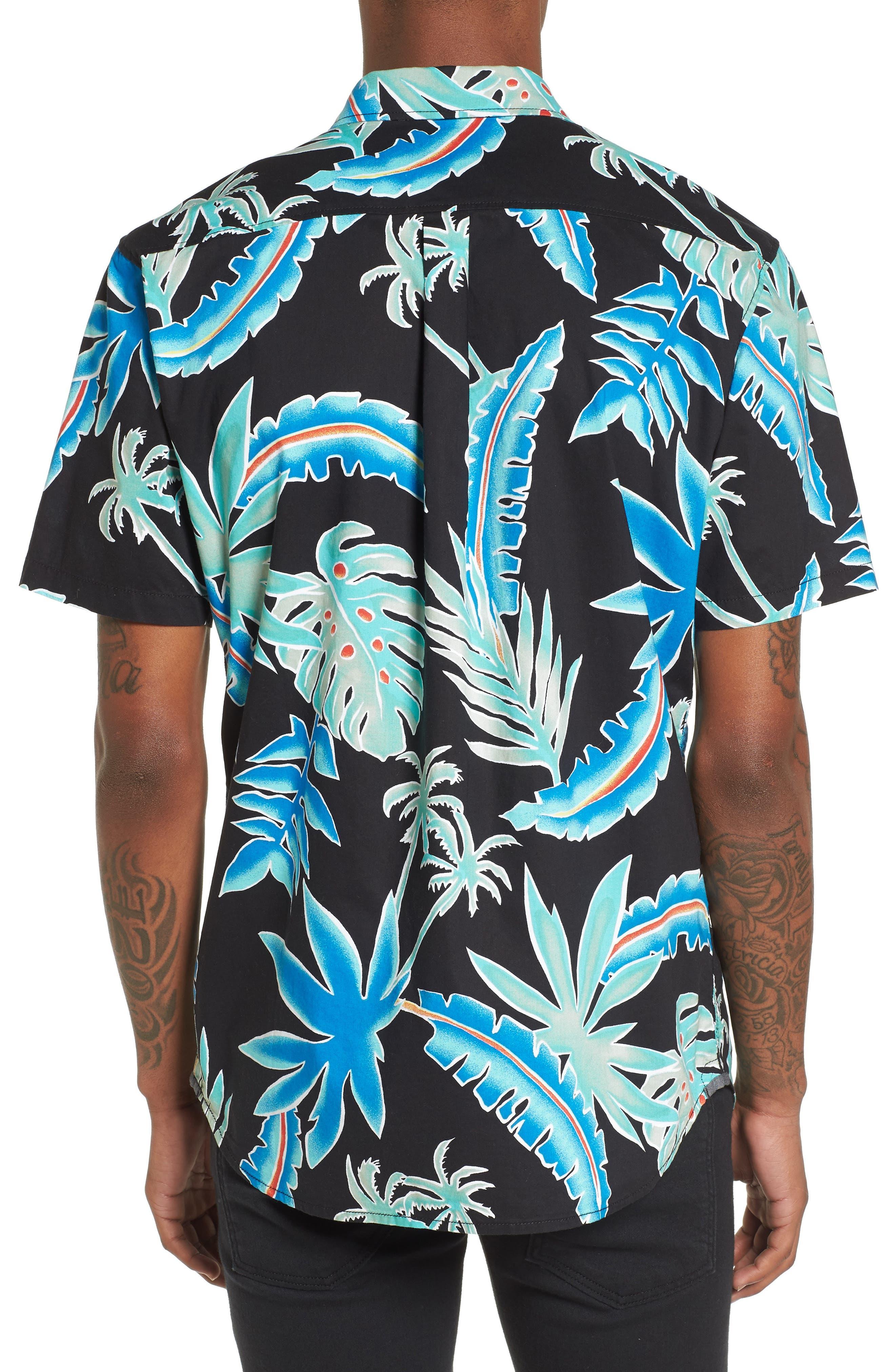 Pit Stop Woven Shirt,                             Alternate thumbnail 3, color,                             Black Pit Stop Floral