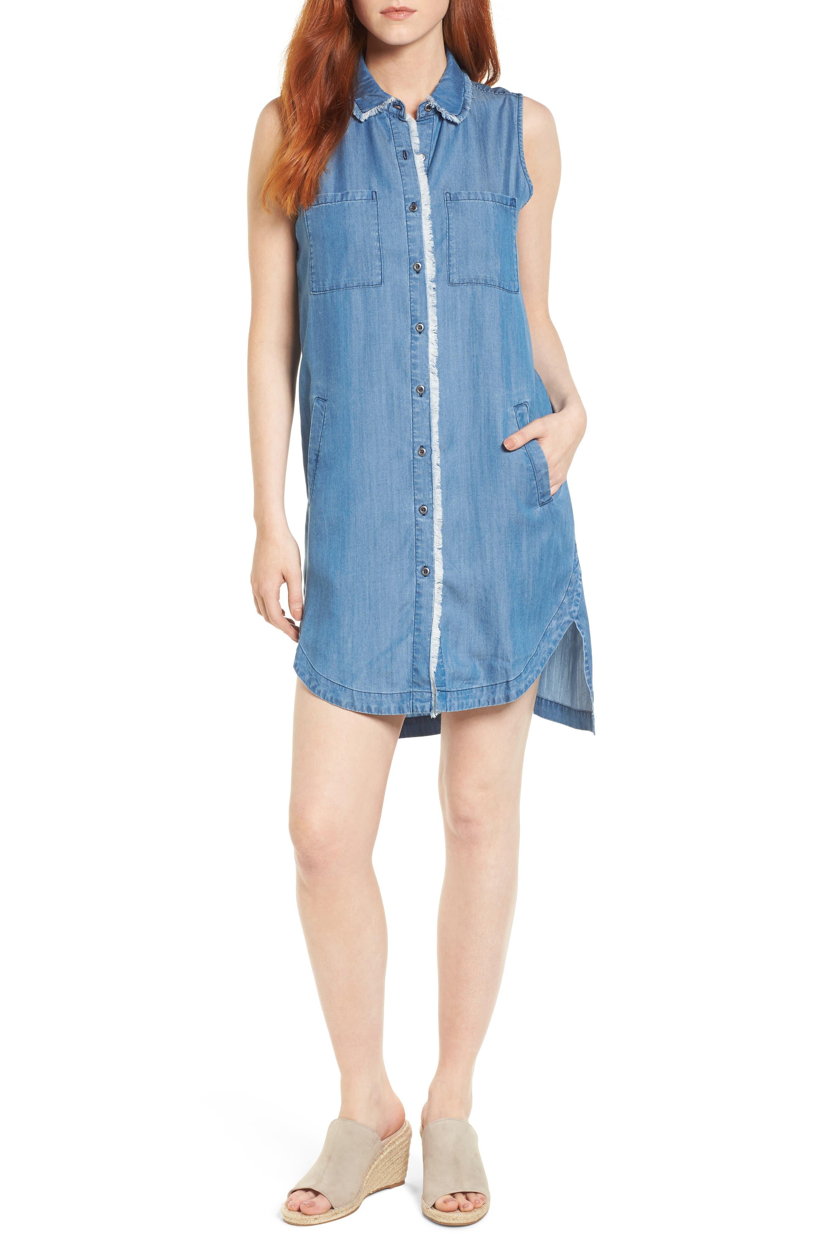 Sleeveless Back Cutout Shirtdress,                         Main,                         color, Blue