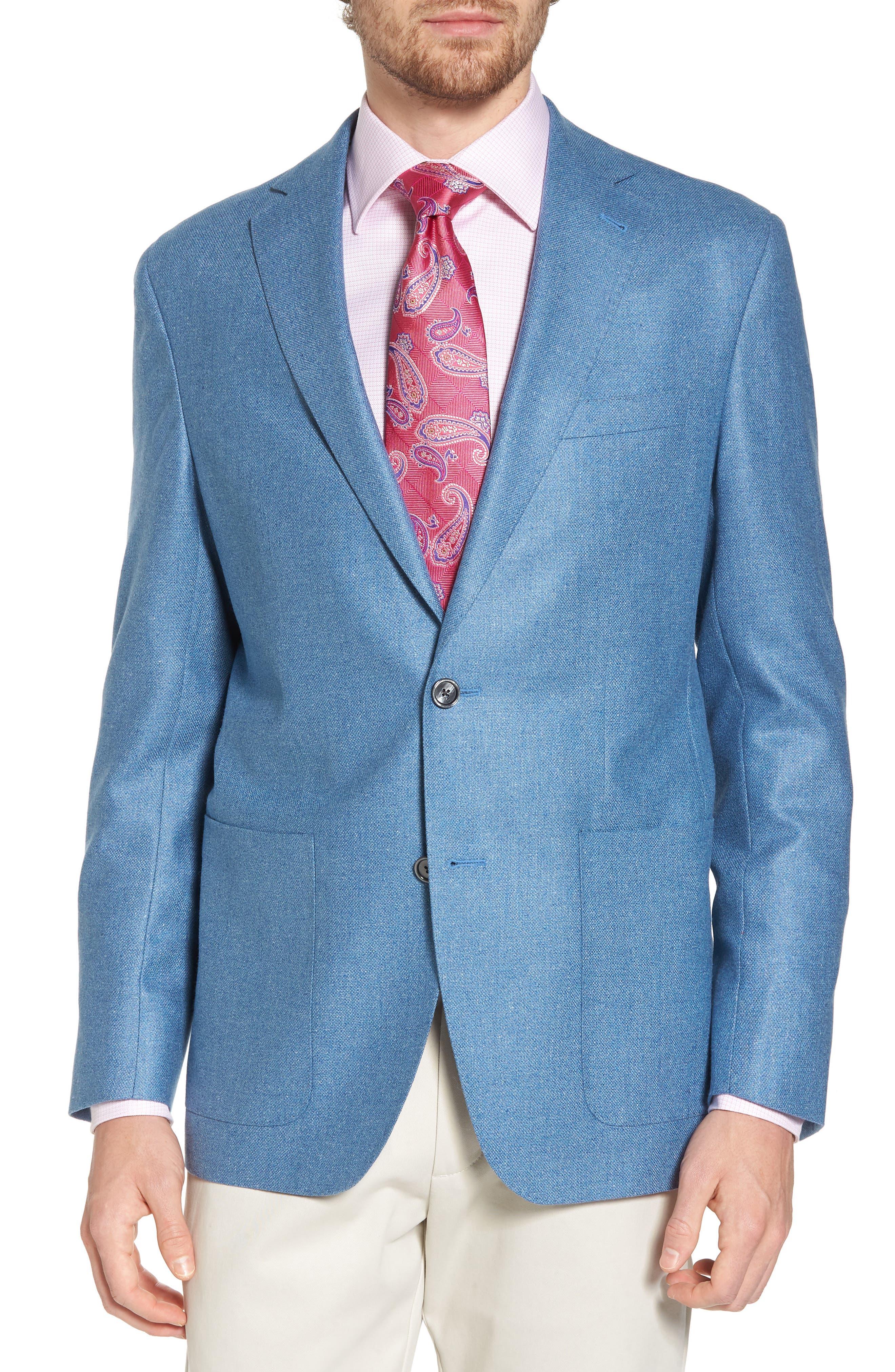 Aiden Classic Fit Silk & Wool Blazer,                             Main thumbnail 1, color,                             Blue