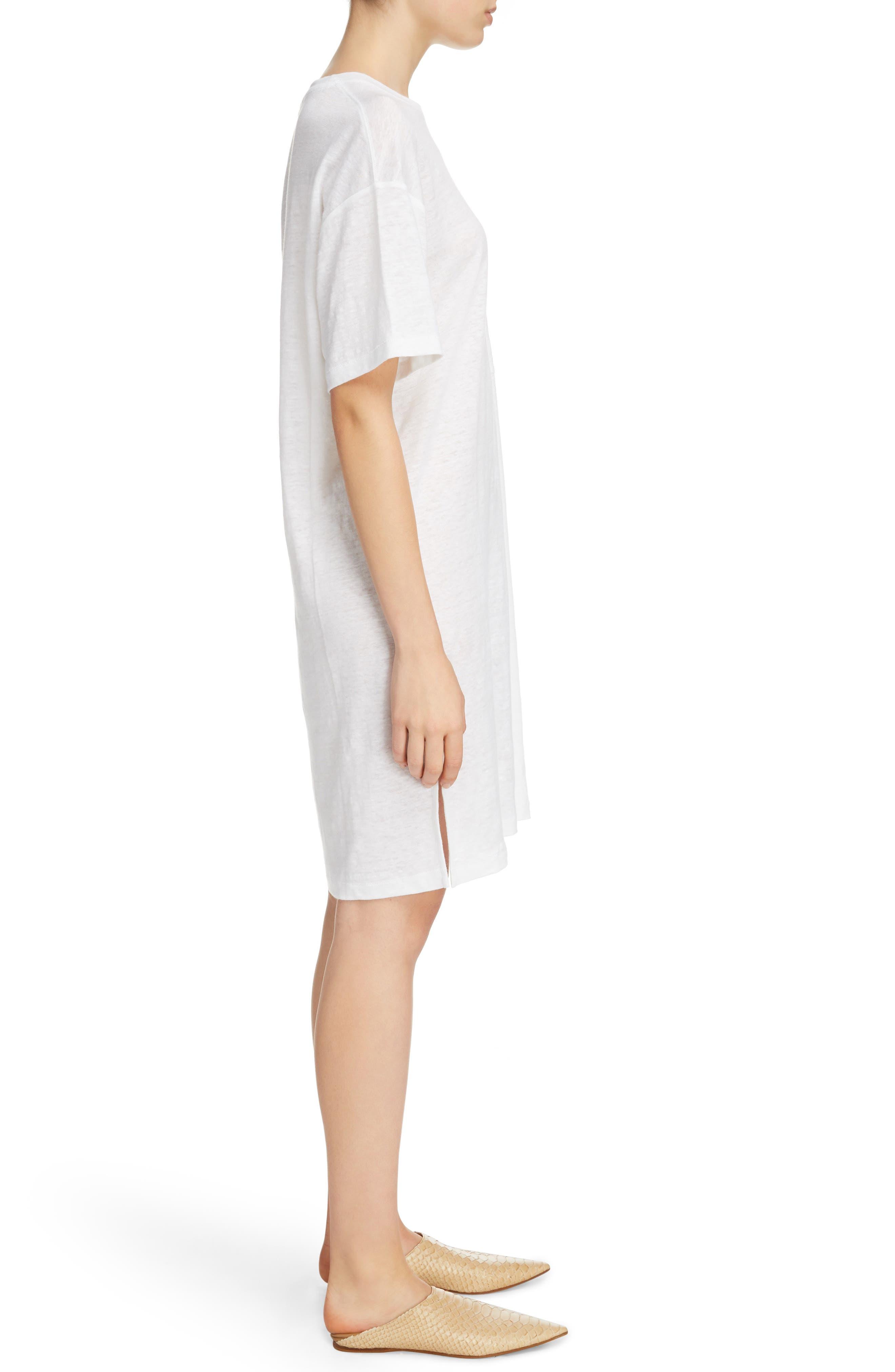 Saga Linen T-Shirt Dress,                             Alternate thumbnail 3, color,                             Optic White