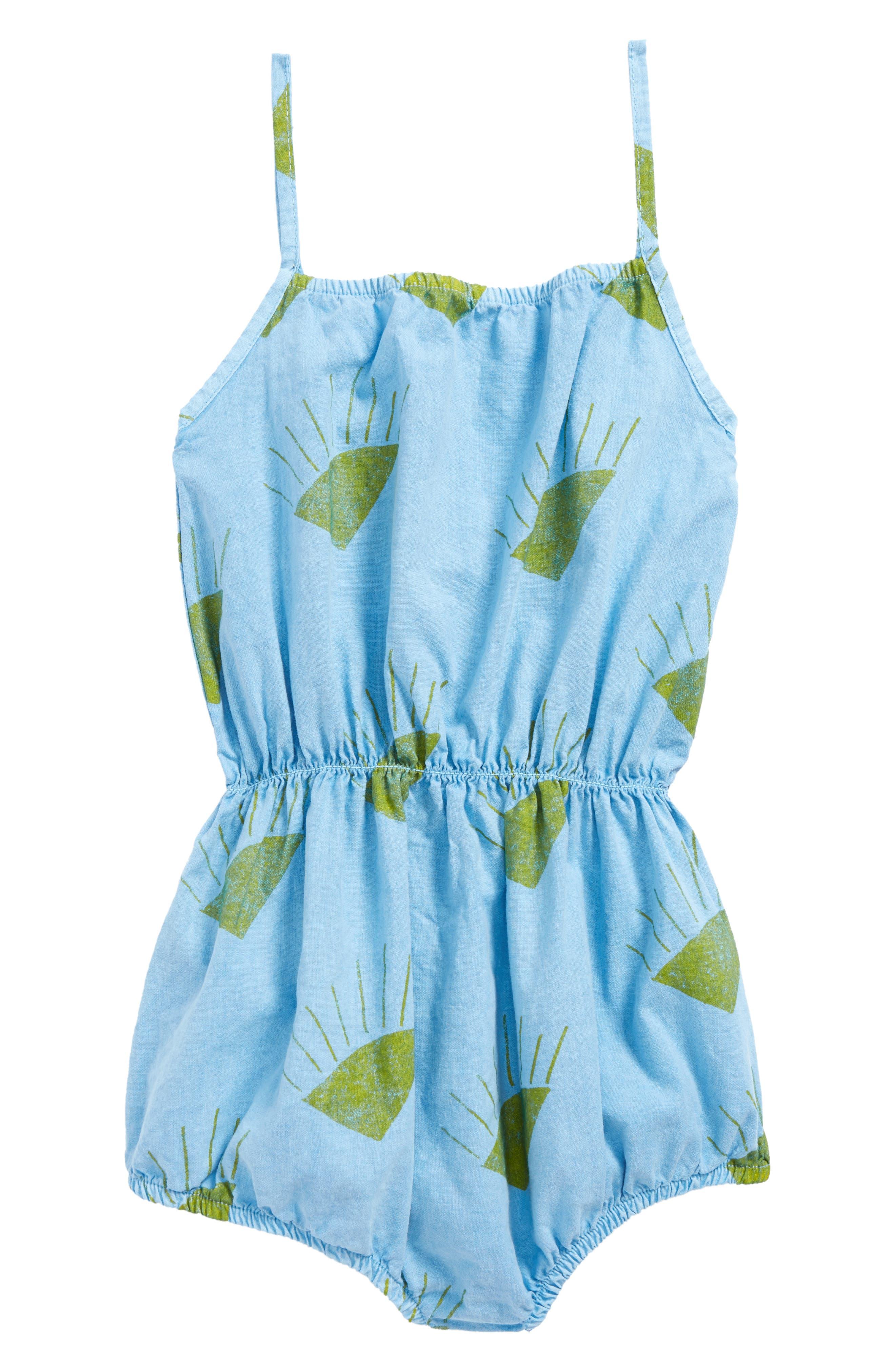 Sun Organic Cotton Romper,                             Main thumbnail 1, color,                             Heritage Blue