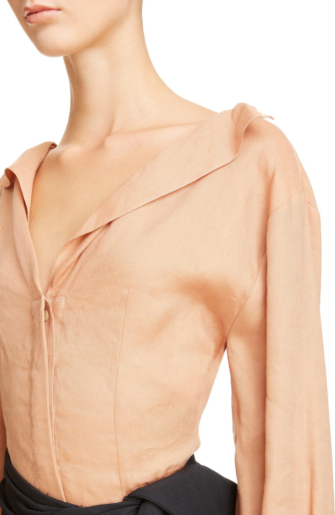 Alternate Image 4  - Jacquemus la Chemise Pleated Cuff Linen Blend Blouse