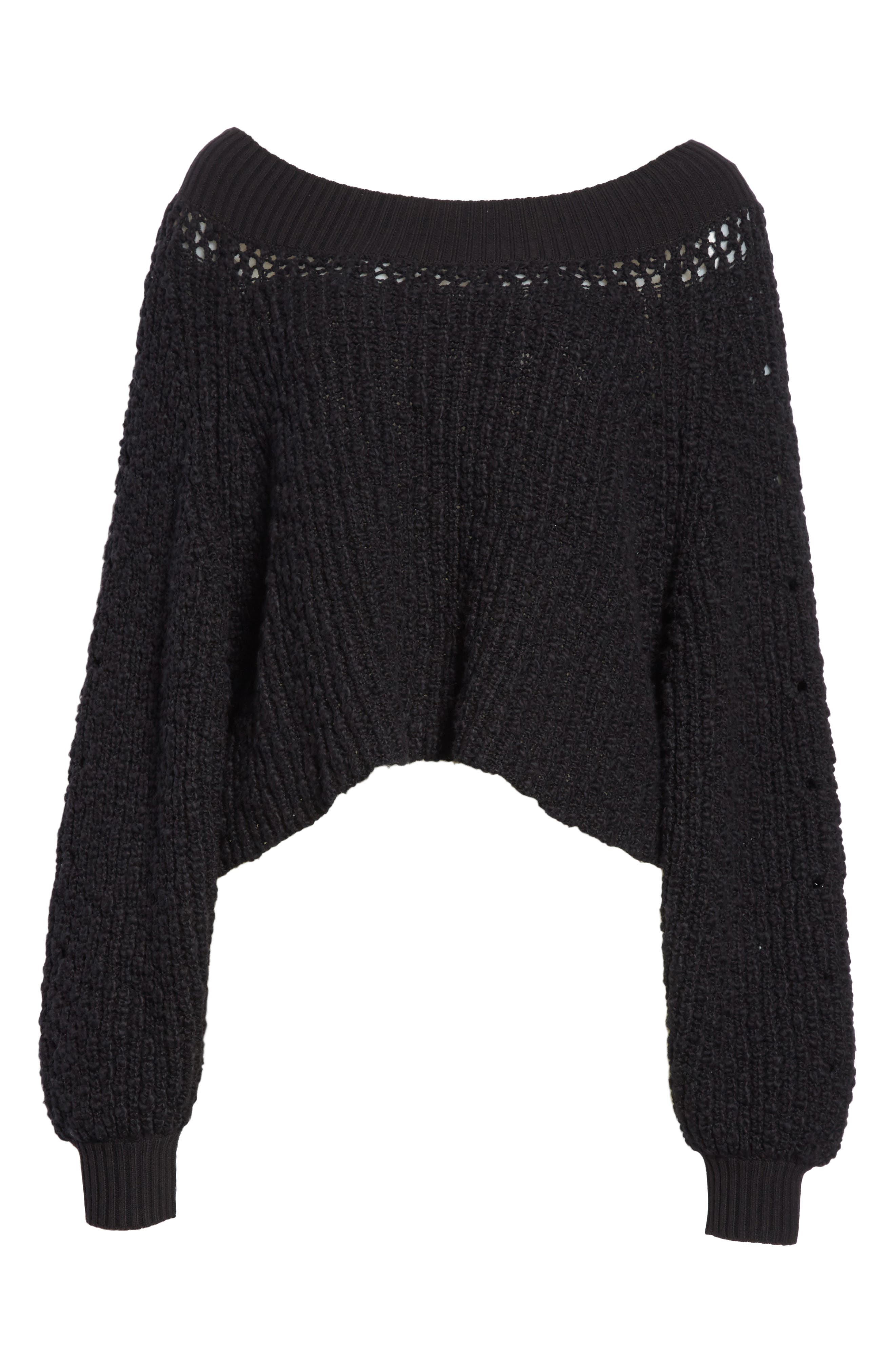 Pandora's Boatneck Sweater,                             Alternate thumbnail 7, color,                             Black