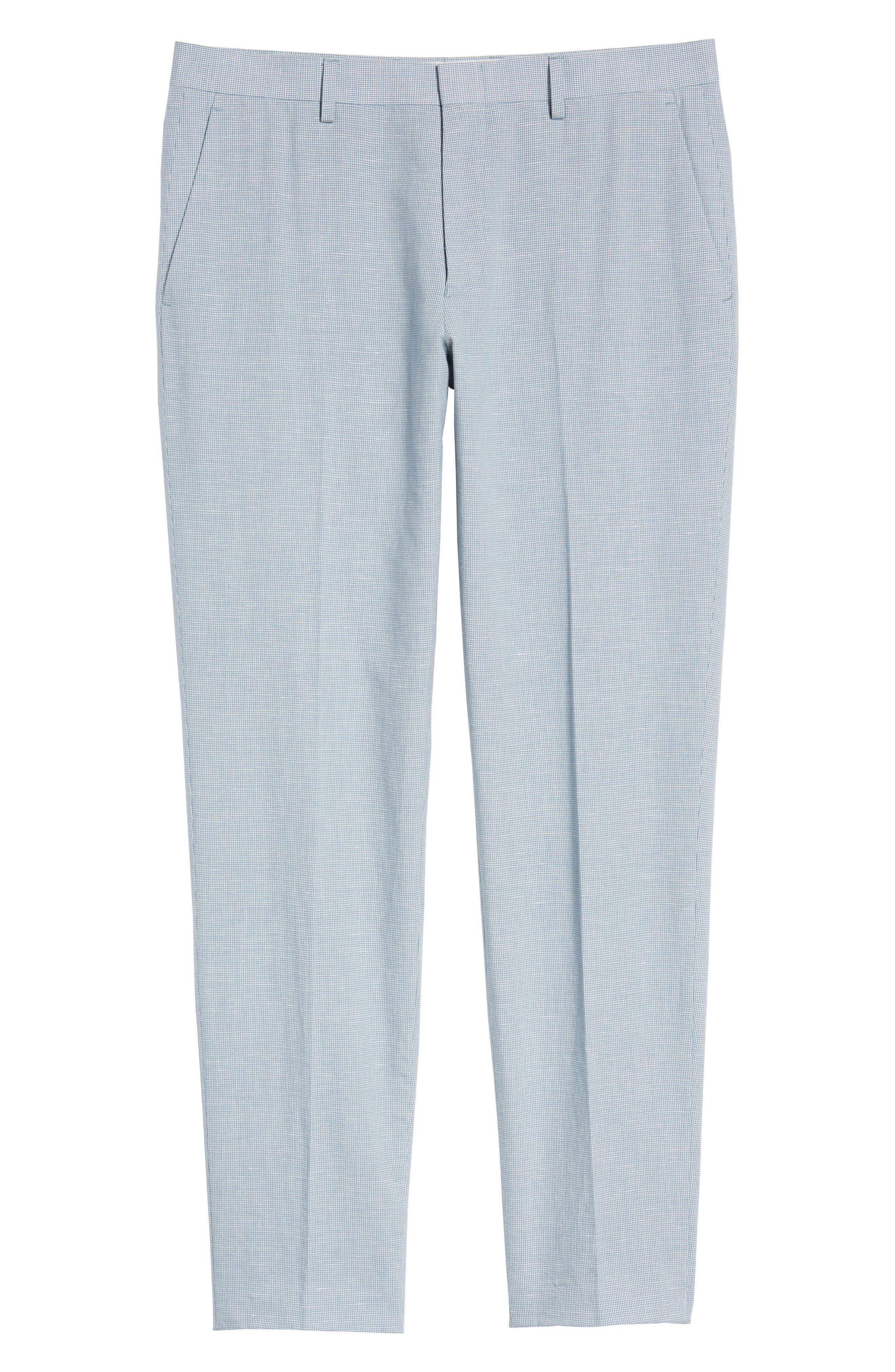 Ludlow Trim Fit Houndstooth Cotton & Linen Suit Pants,                             Alternate thumbnail 6, color,                             Light Blue