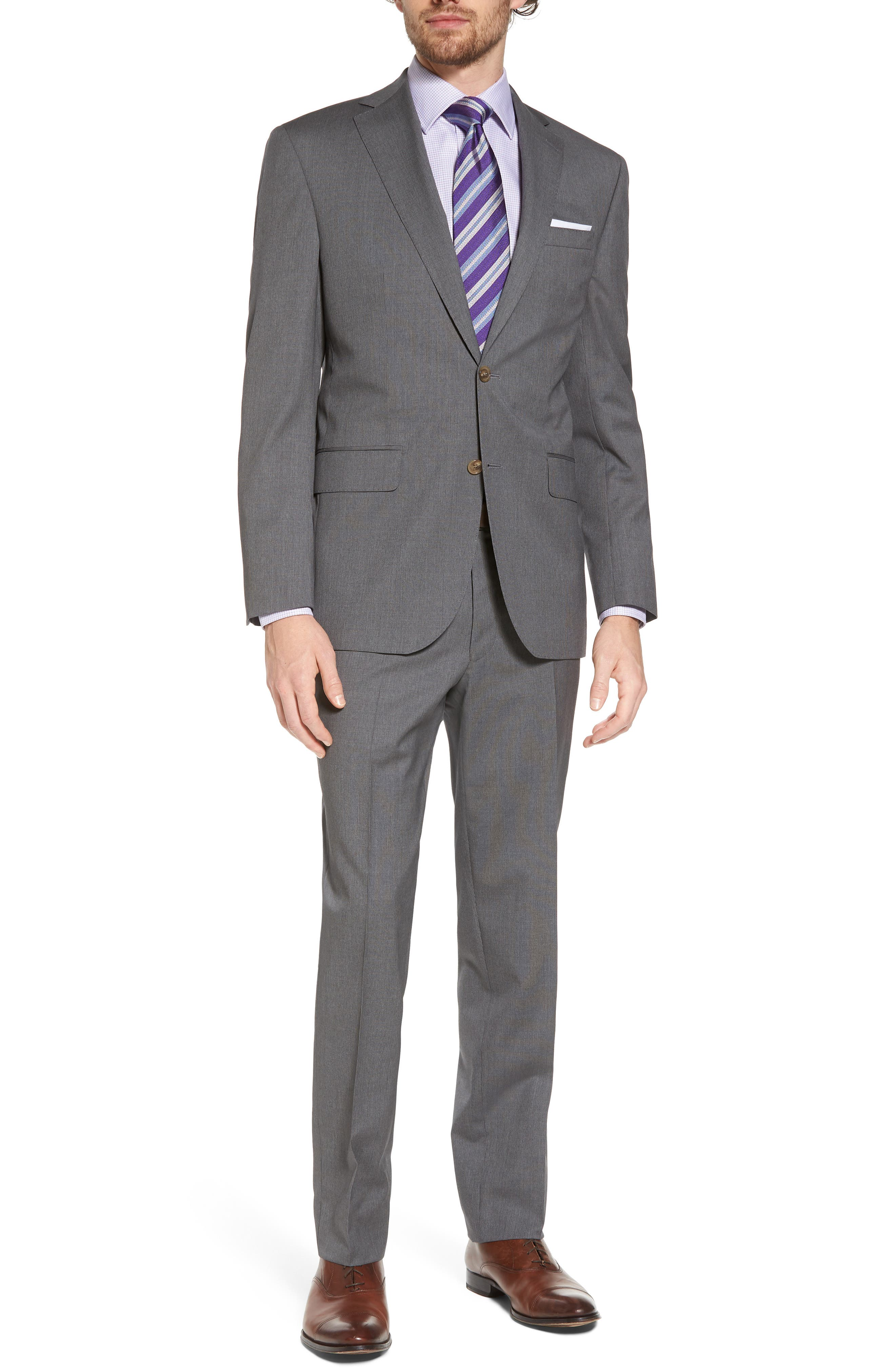 Ryan Classic Fit Stripe Wool Suit,                         Main,                         color, Mid Grey