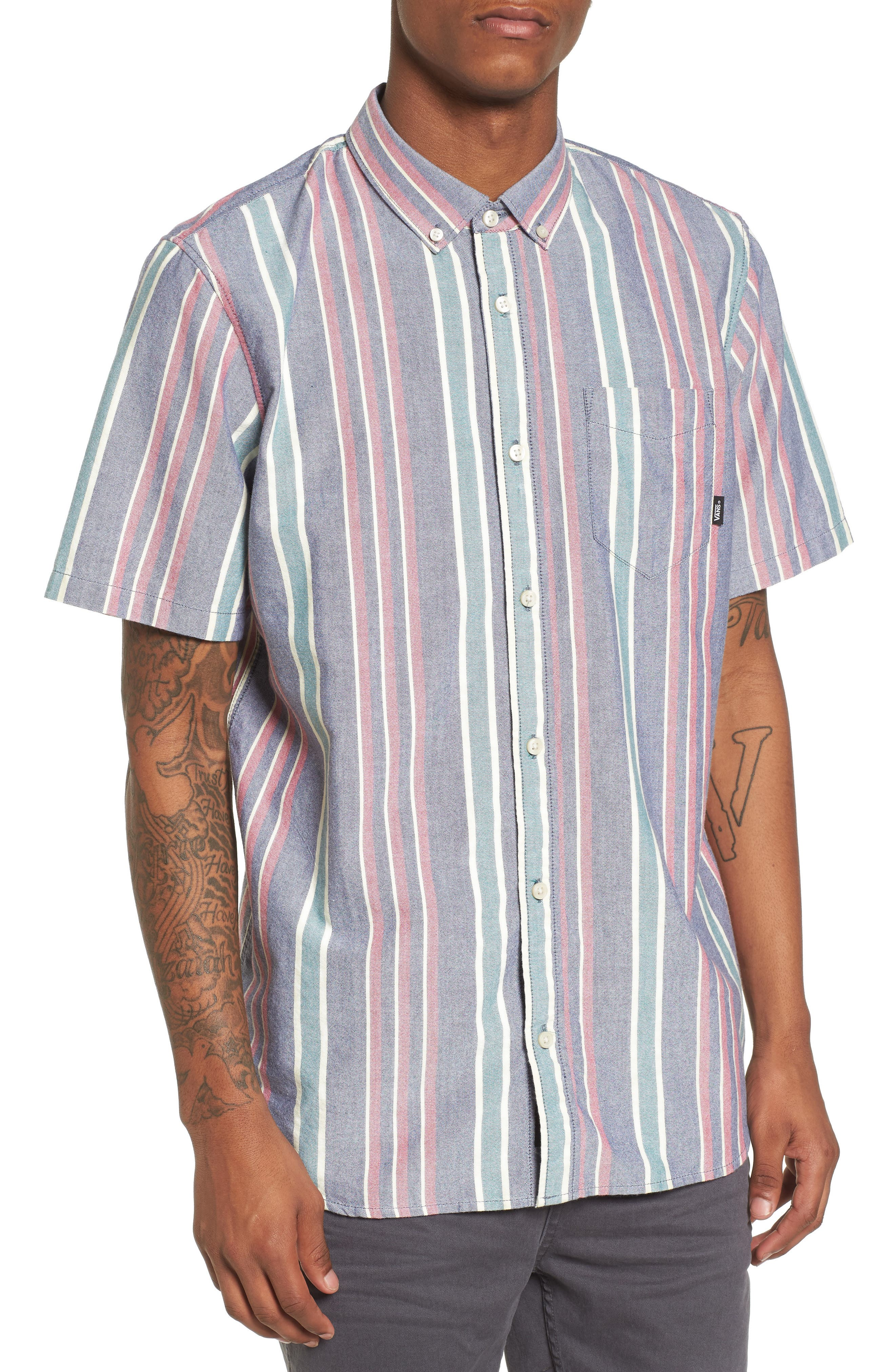Houser Short Sleeve Shirt,                             Main thumbnail 1, color,                             Dress Blues/ Evergreen