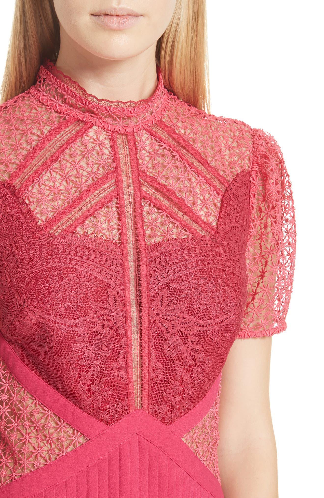 Paneled Lace Dress,                             Alternate thumbnail 4, color,                             Rasberry Red