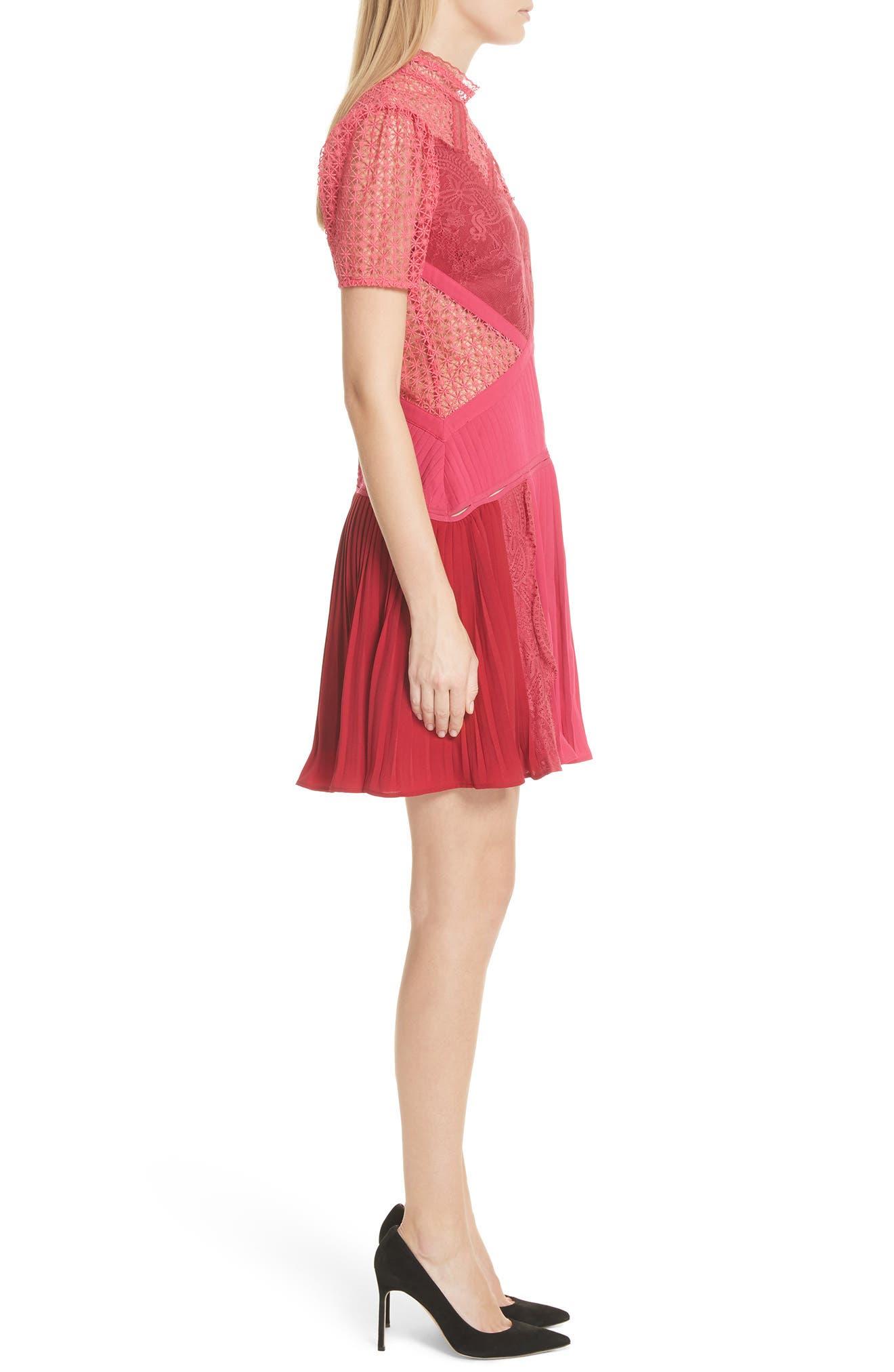 Paneled Lace Dress,                             Alternate thumbnail 3, color,                             Rasberry Red
