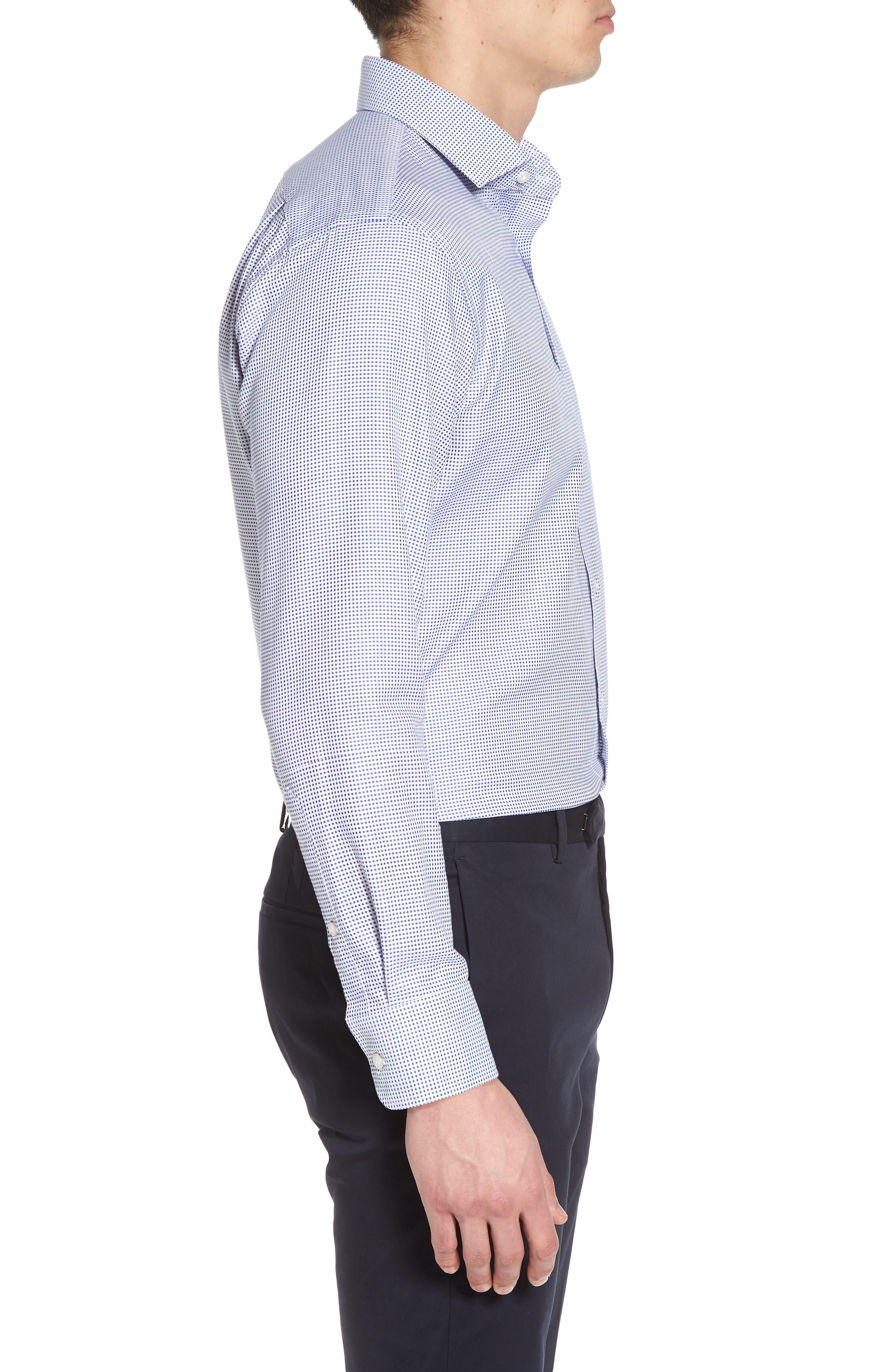Trim Fit Microcheck Dress Shirt,                             Alternate thumbnail 4, color,                             Blue Surf
