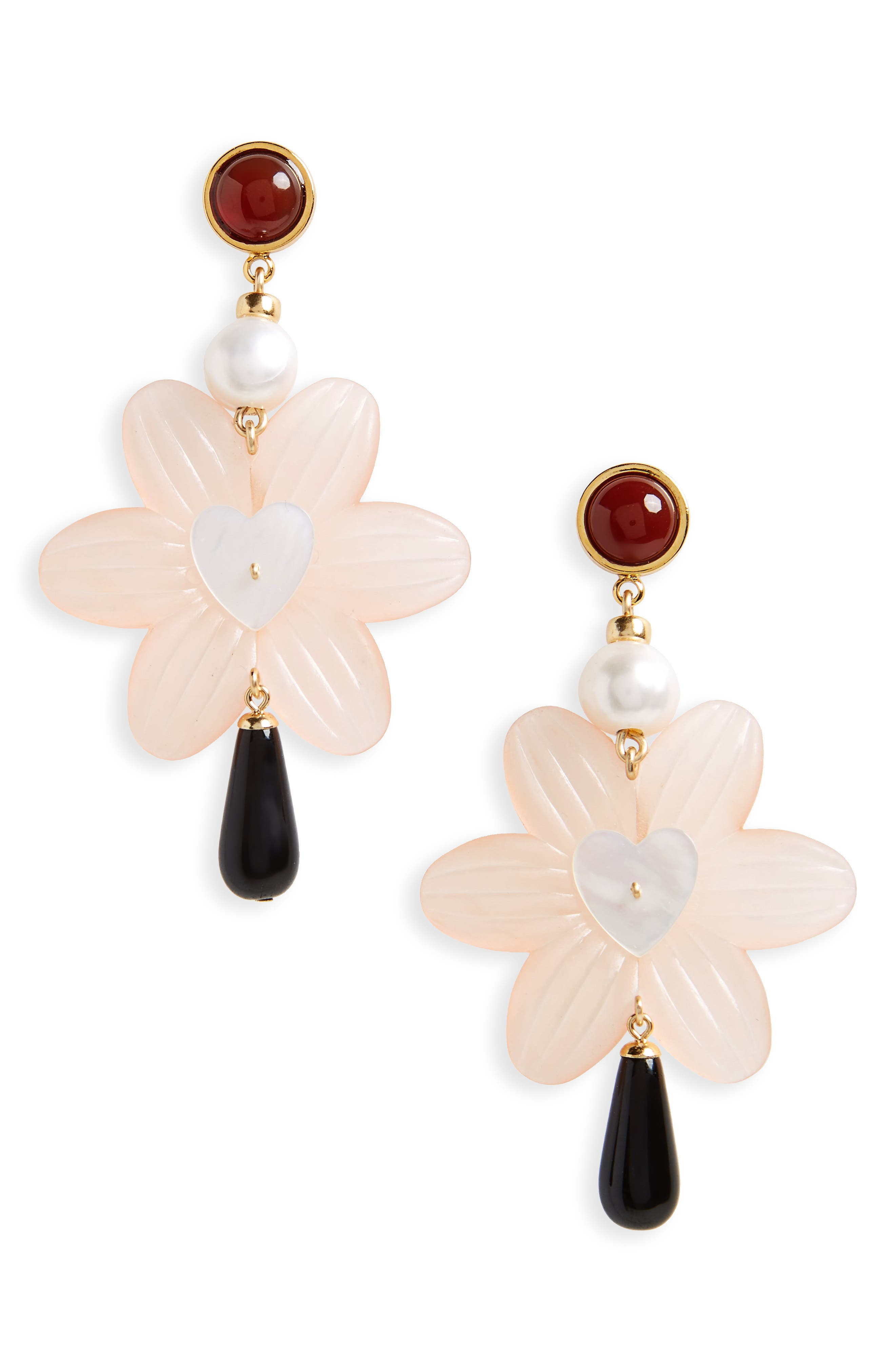 Sal Heart Drop Earrings with Freshwater Pearl,                             Main thumbnail 1, color,                             Gold Multi