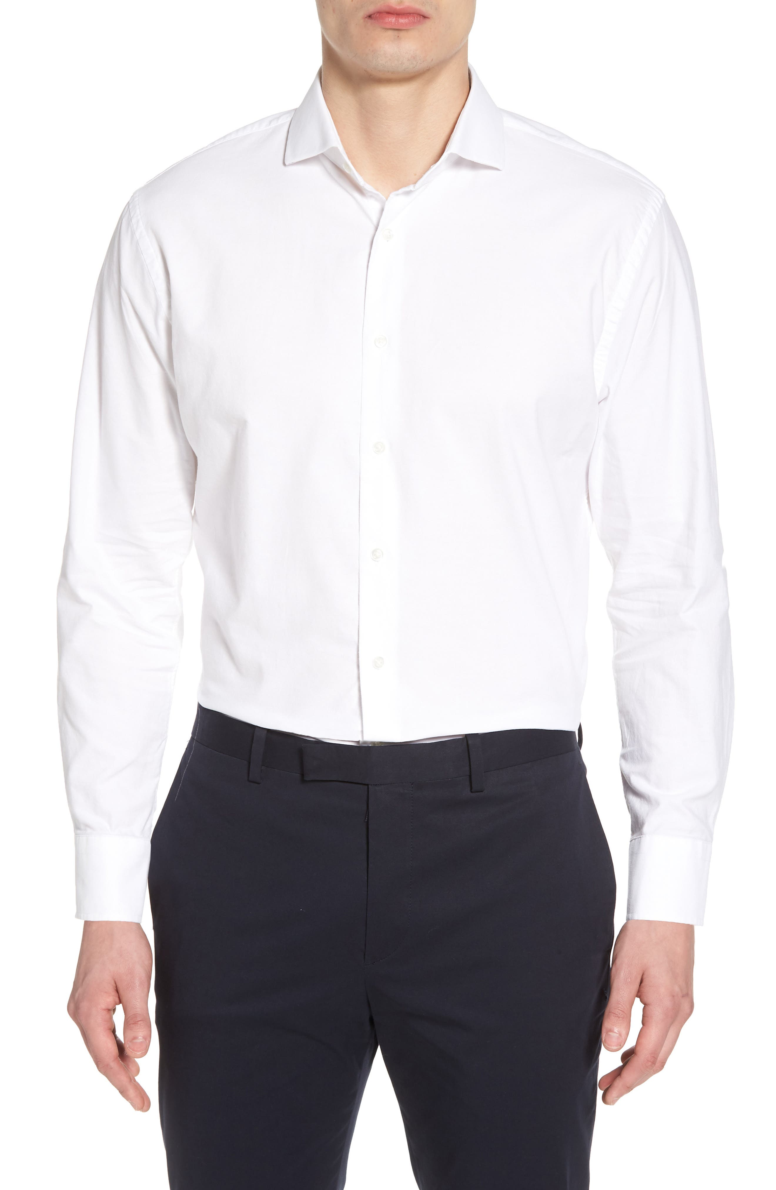Trim Fit Solid Dress Shirt,                             Main thumbnail 1, color,                             White