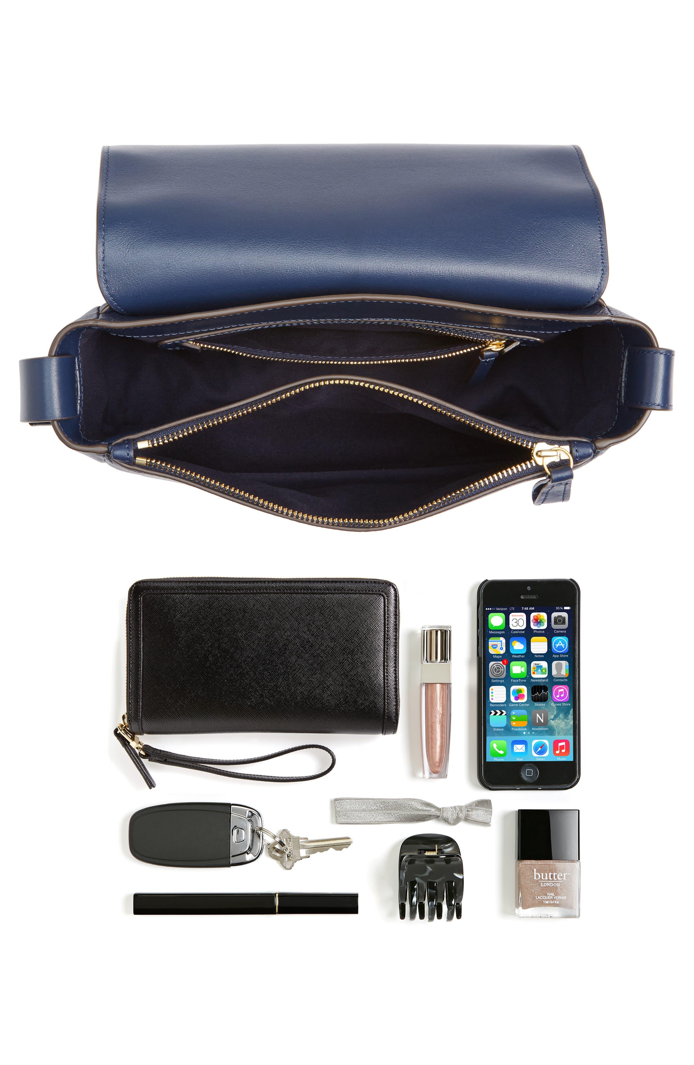 Block-T Pebbled Leather Shoulder Bag,                             Alternate thumbnail 7, color,