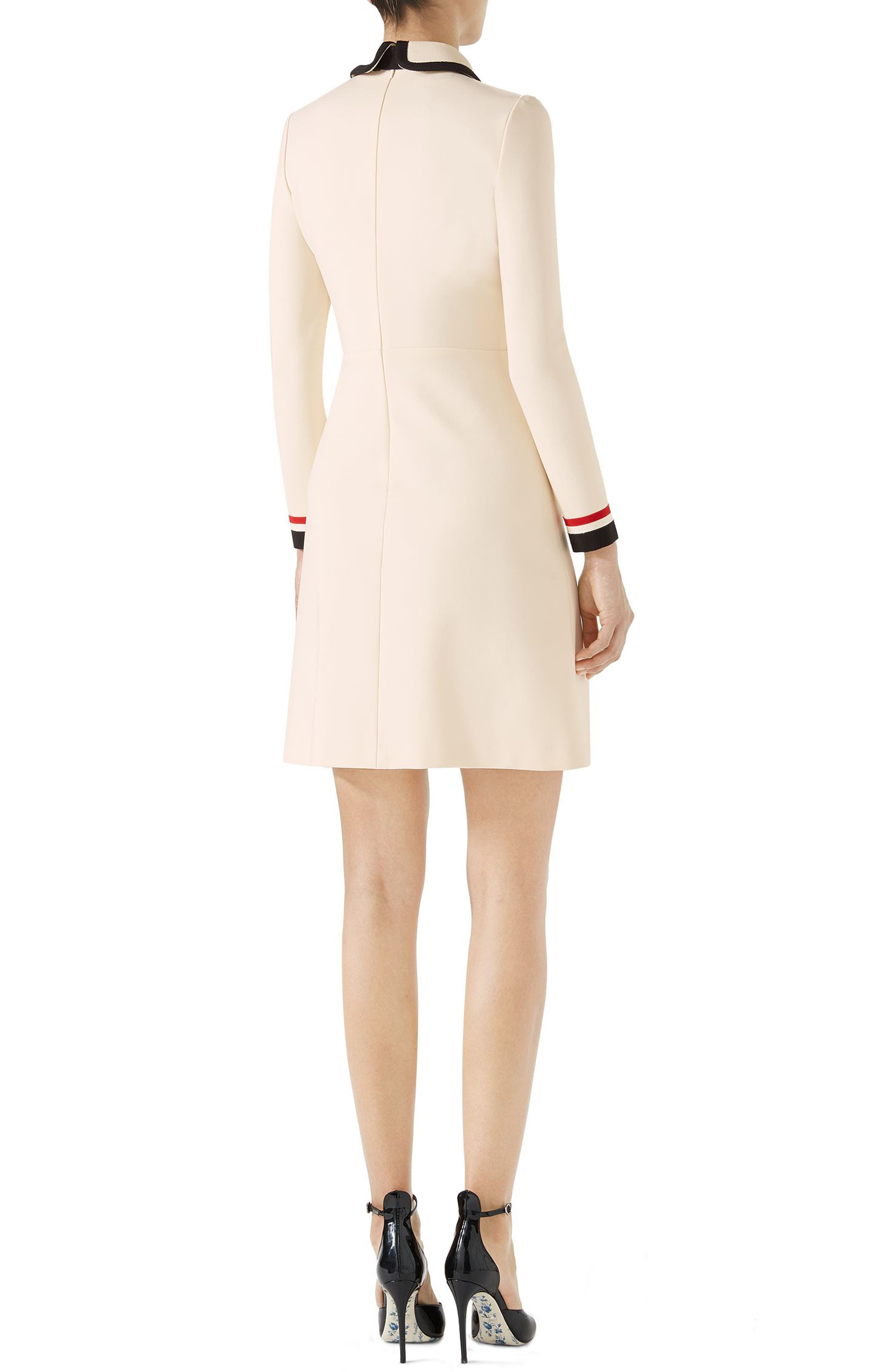 Bow Neck Piped Jersey Dress,                             Alternate thumbnail 2, color,                             Almond Flower/ Black
