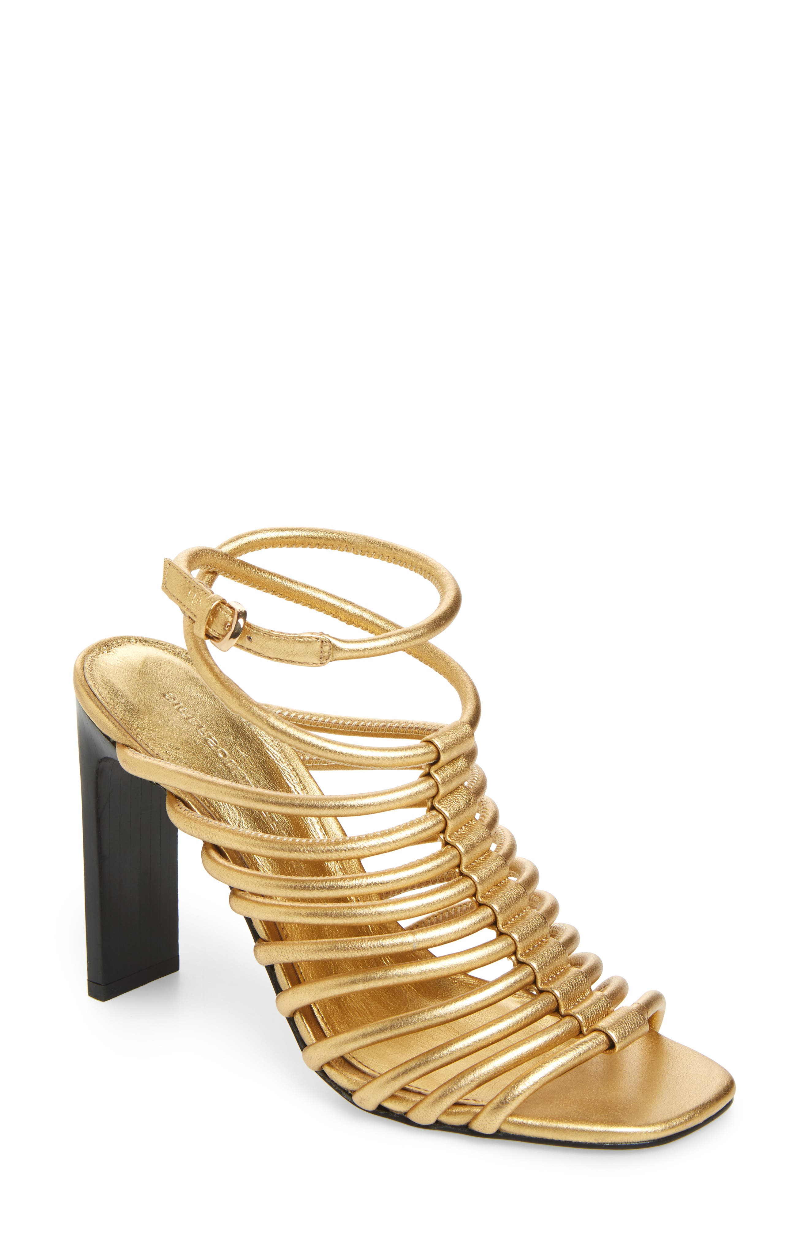 HH Caged Ankle Strap Sandal,                         Main,                         color, Gold
