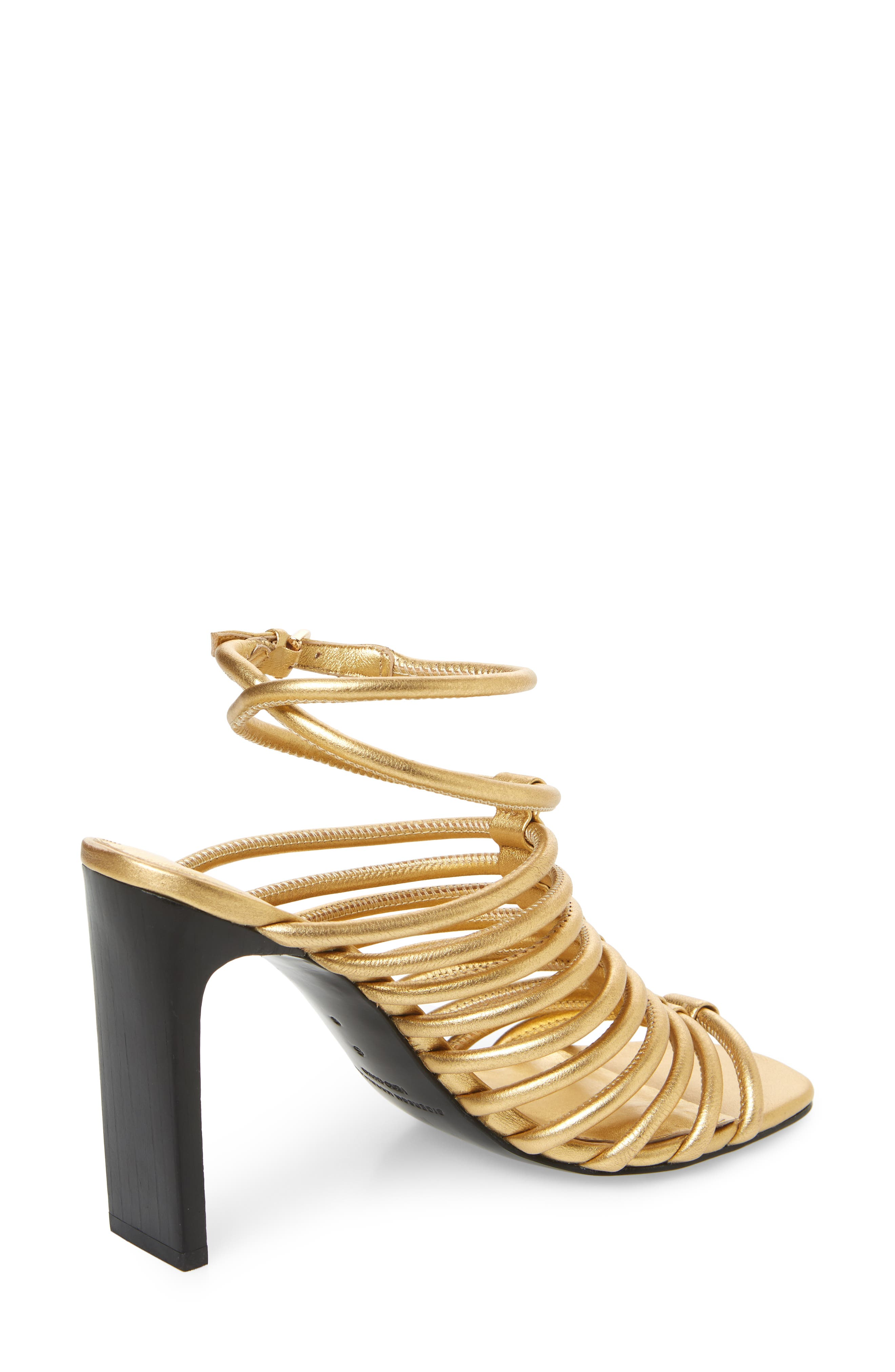 HH Caged Ankle Strap Sandal,                             Alternate thumbnail 3, color,                             Gold