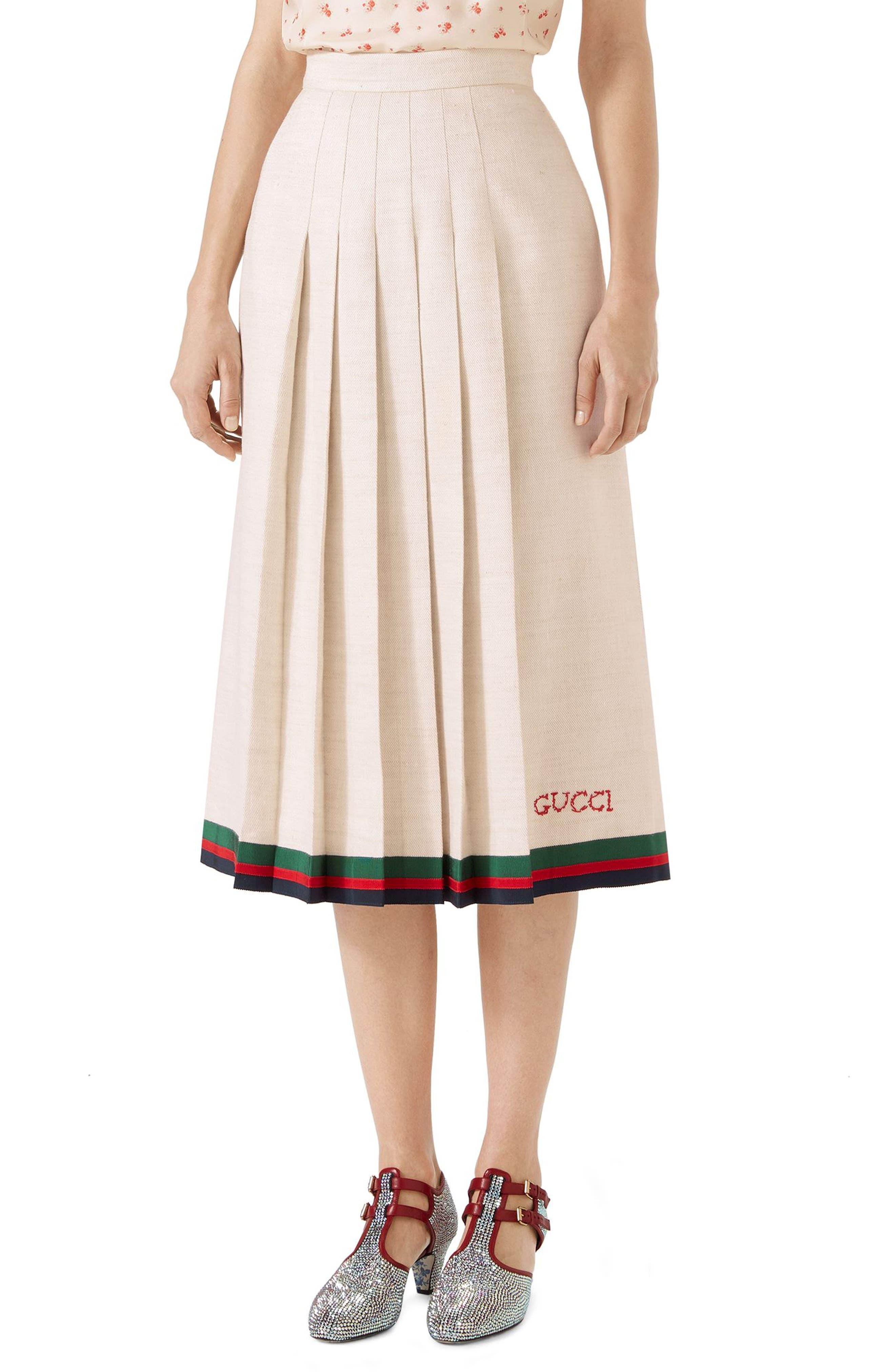 Pleated Linen & Silk Skirt,                             Main thumbnail 1, color,                             Gardenia/ B/ R/ V