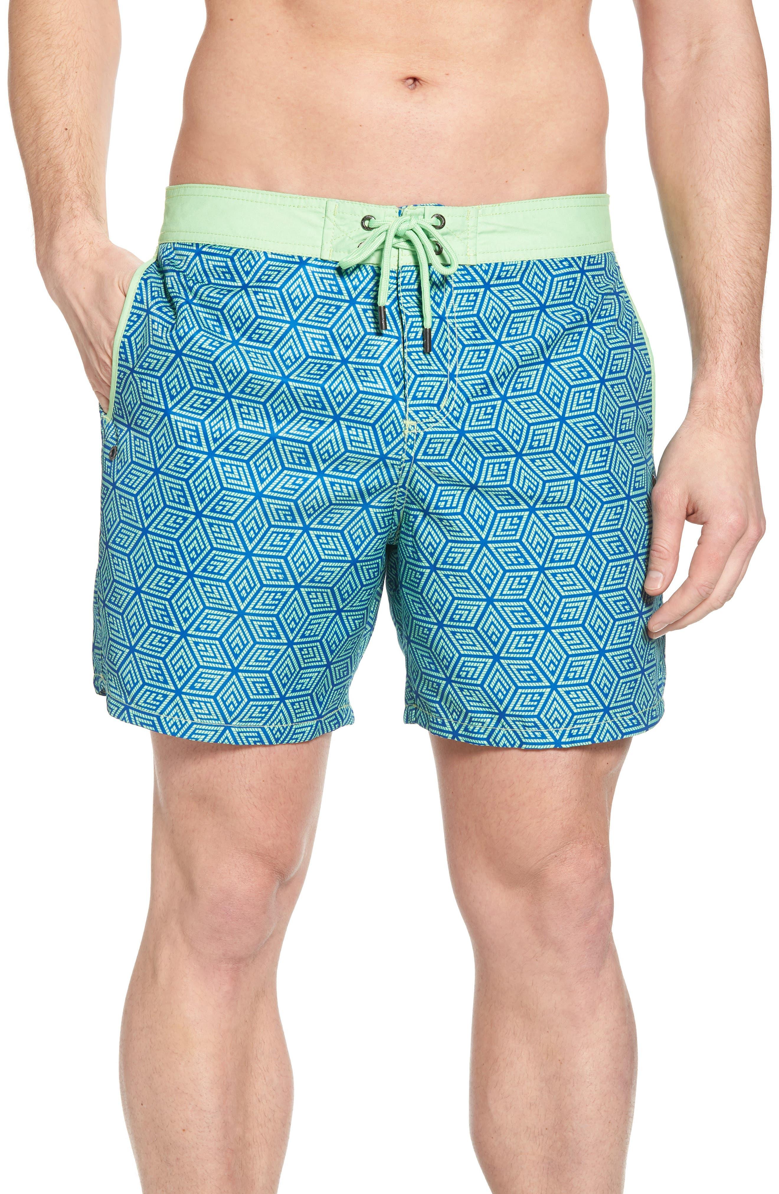 Mr. Swim Geo Print Swim Trunks,                         Main,                         color, Mint