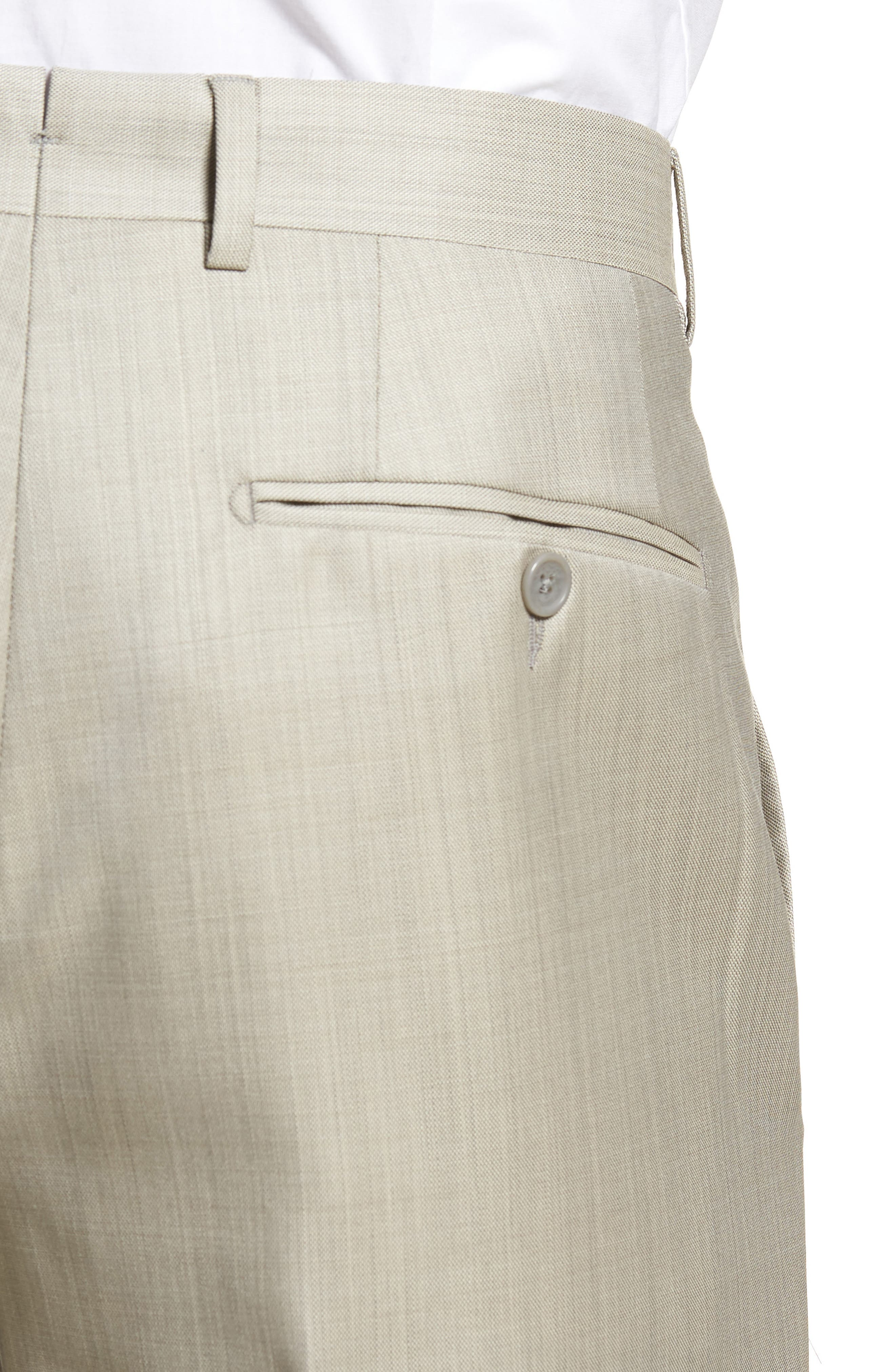 Flat Front Solid Wool Trousers,                             Alternate thumbnail 4, color,                             Sand
