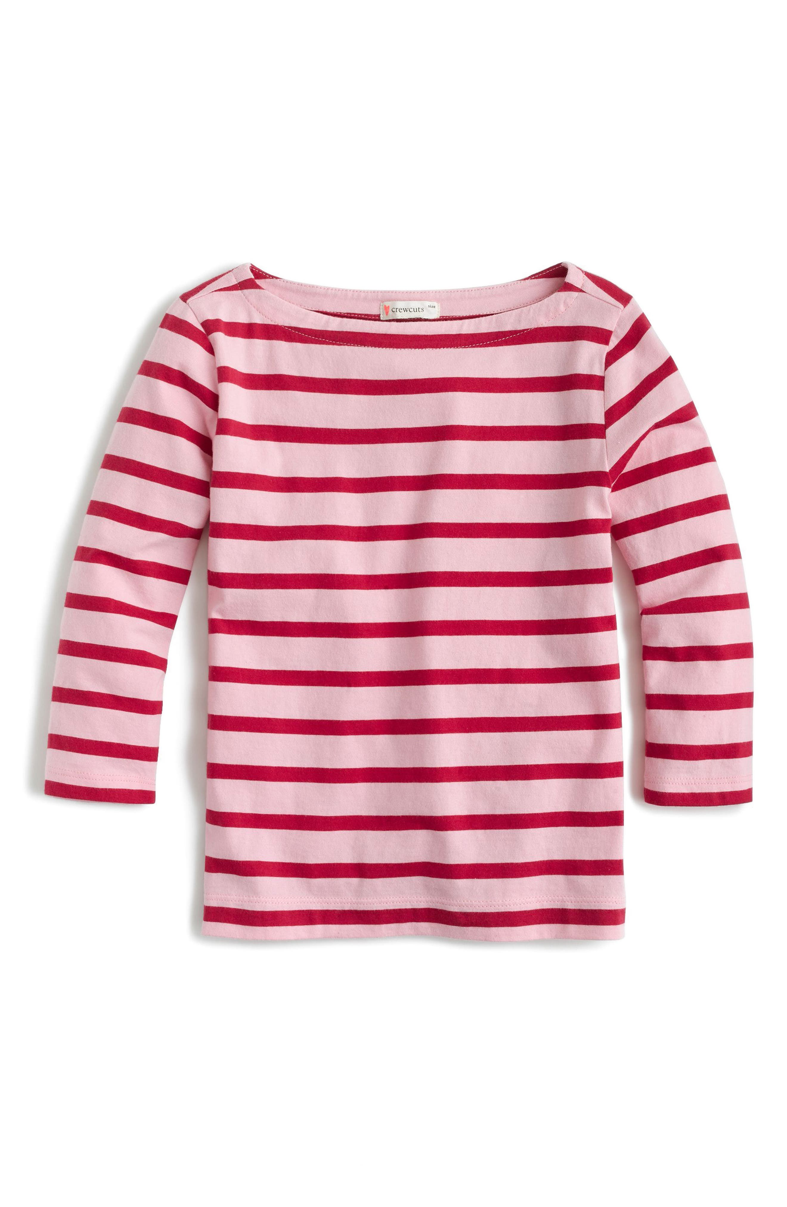 Alternate Image 1 Selected - crewcuts by J.Crew Classic Stripe T-Shirt (Toddler Girls, Little Girls & Big Girls)