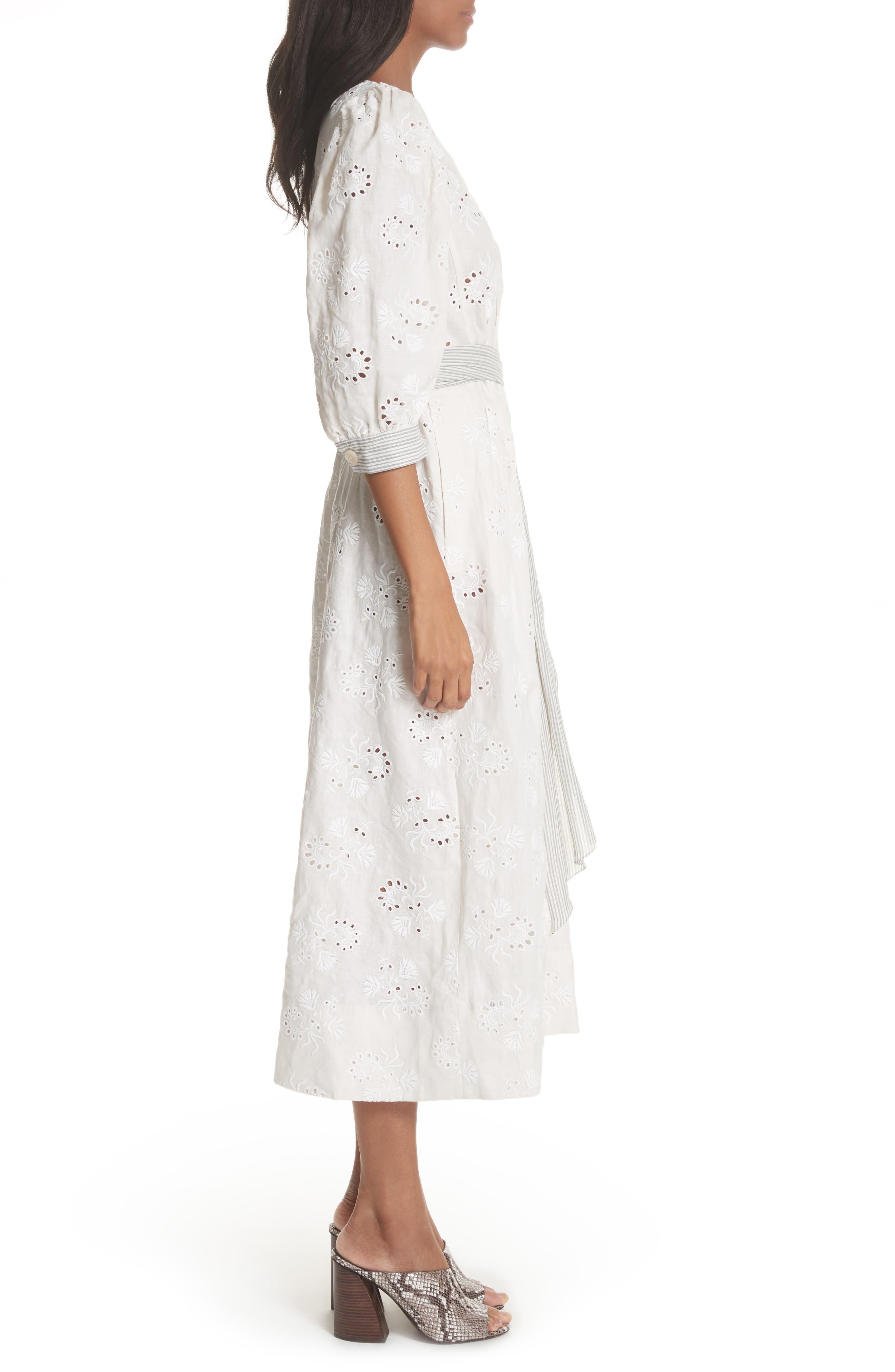 Garden Eyelet Midi Dress,                             Alternate thumbnail 3, color,                             Vanilla/ Milk