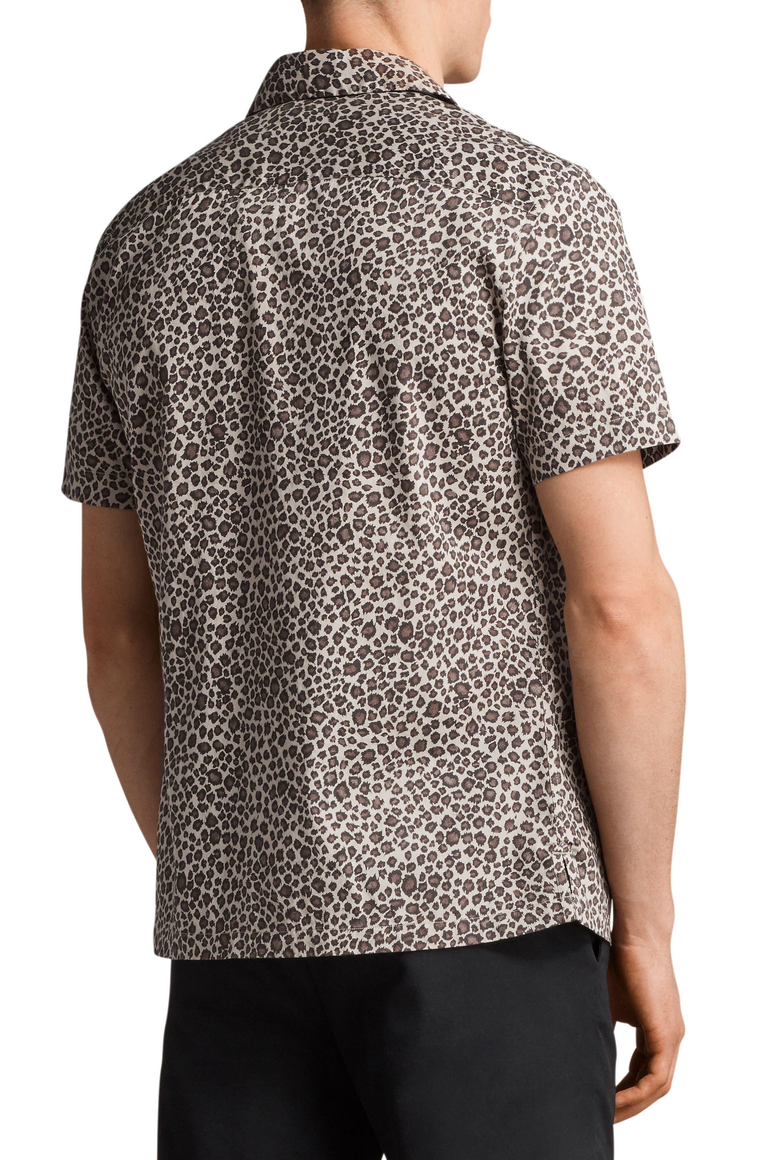 Apex Leopard Print Short Sleeve Sport Shirt,                             Alternate thumbnail 2, color,                             Light Brown