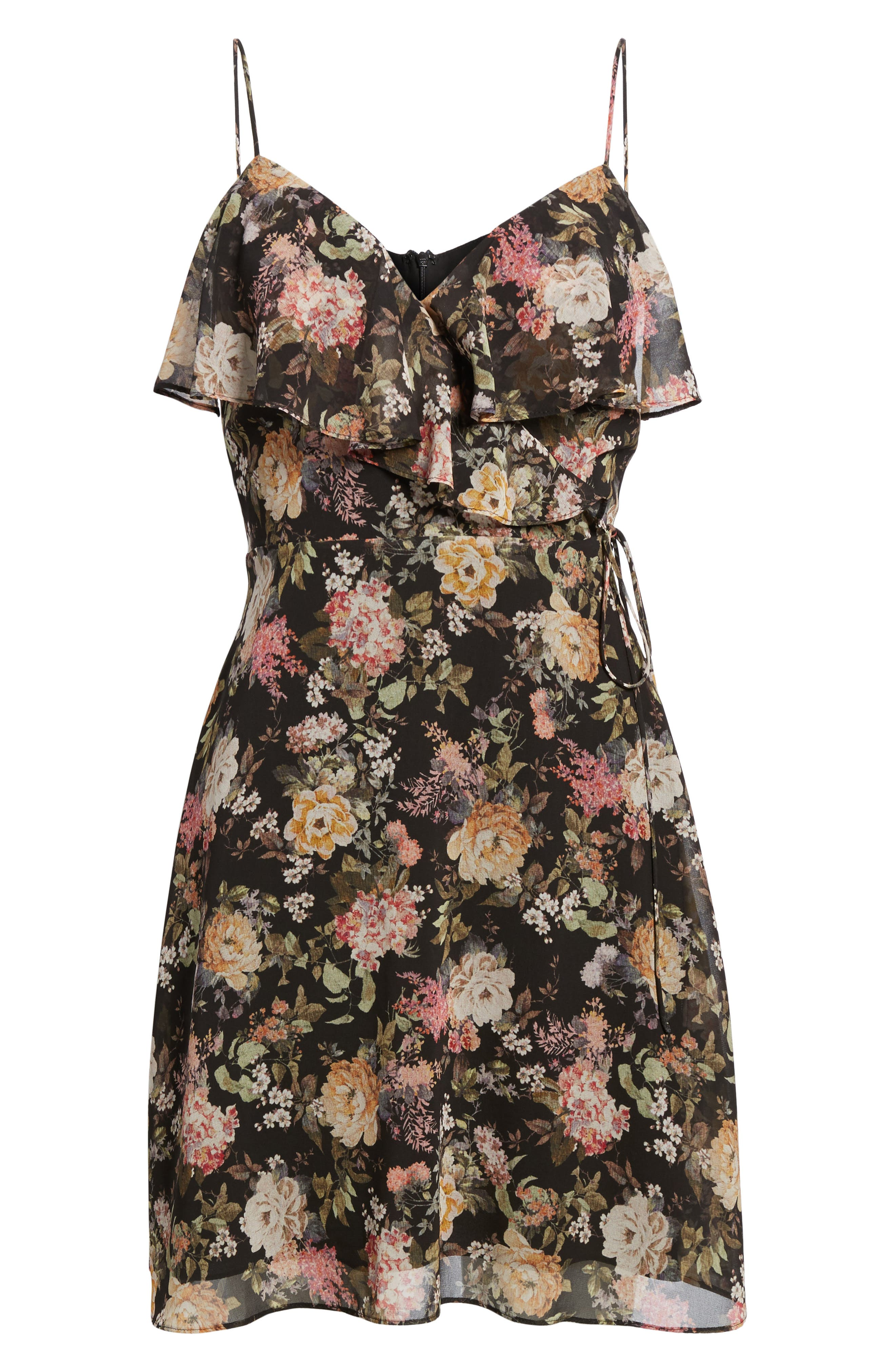 Object of Desire Ruffle Dress,                             Alternate thumbnail 6, color,                             Black