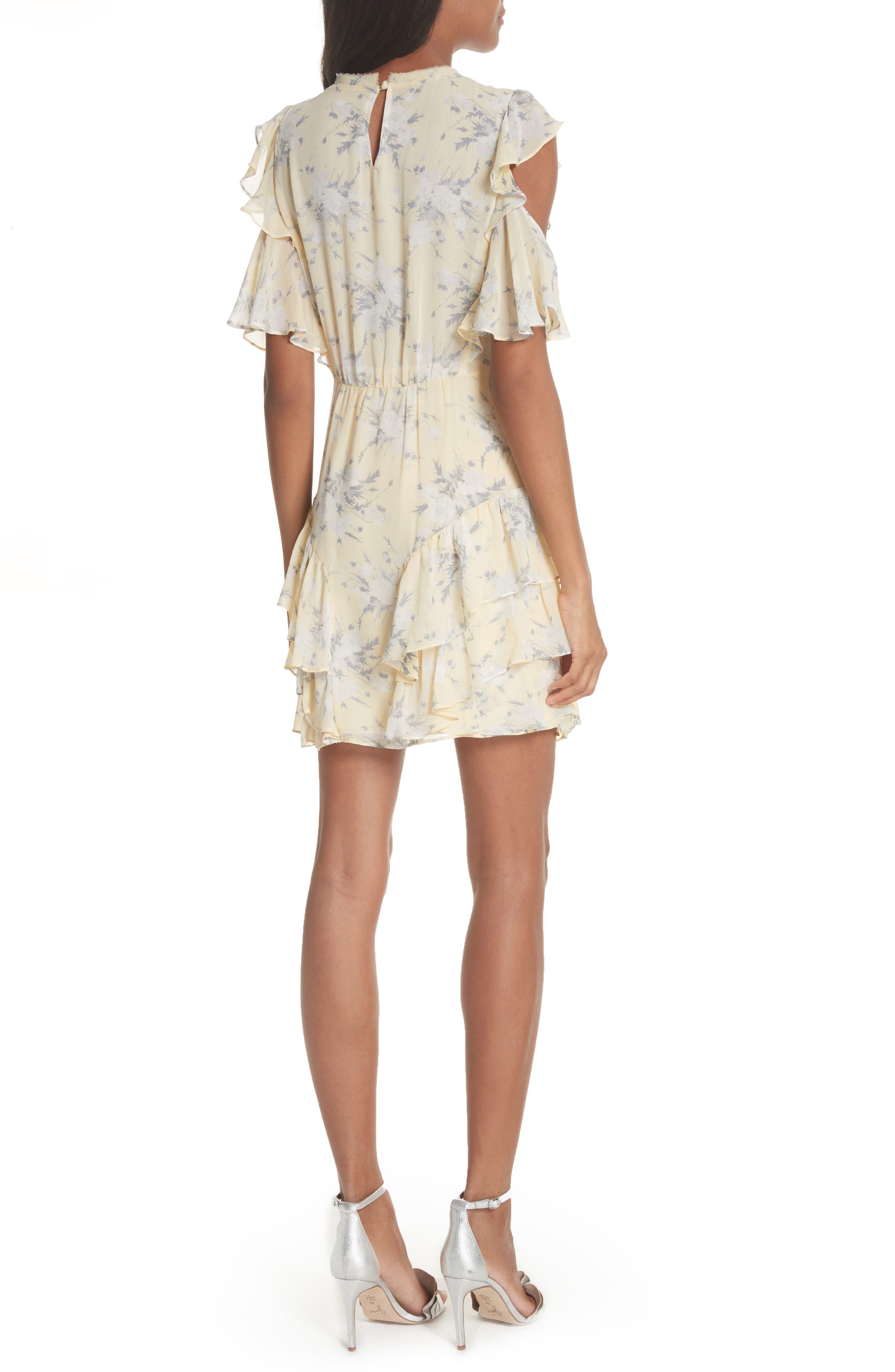 Cold Shoulder Lemon Rose Silk Dress,                             Alternate thumbnail 2, color,                             Lemon Combo