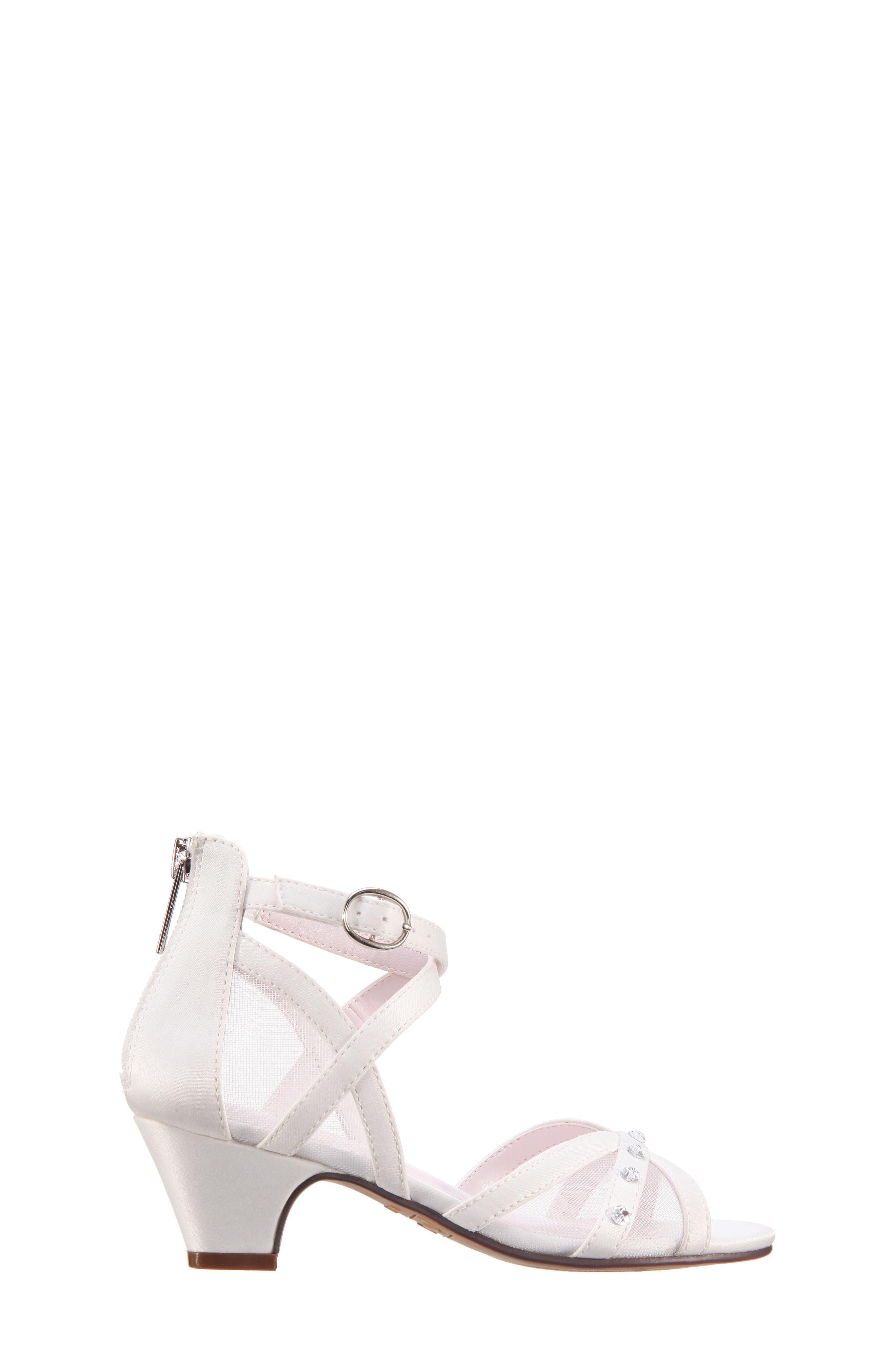 Betty Sandal,                             Alternate thumbnail 3, color,                             White Shimmer Fabric