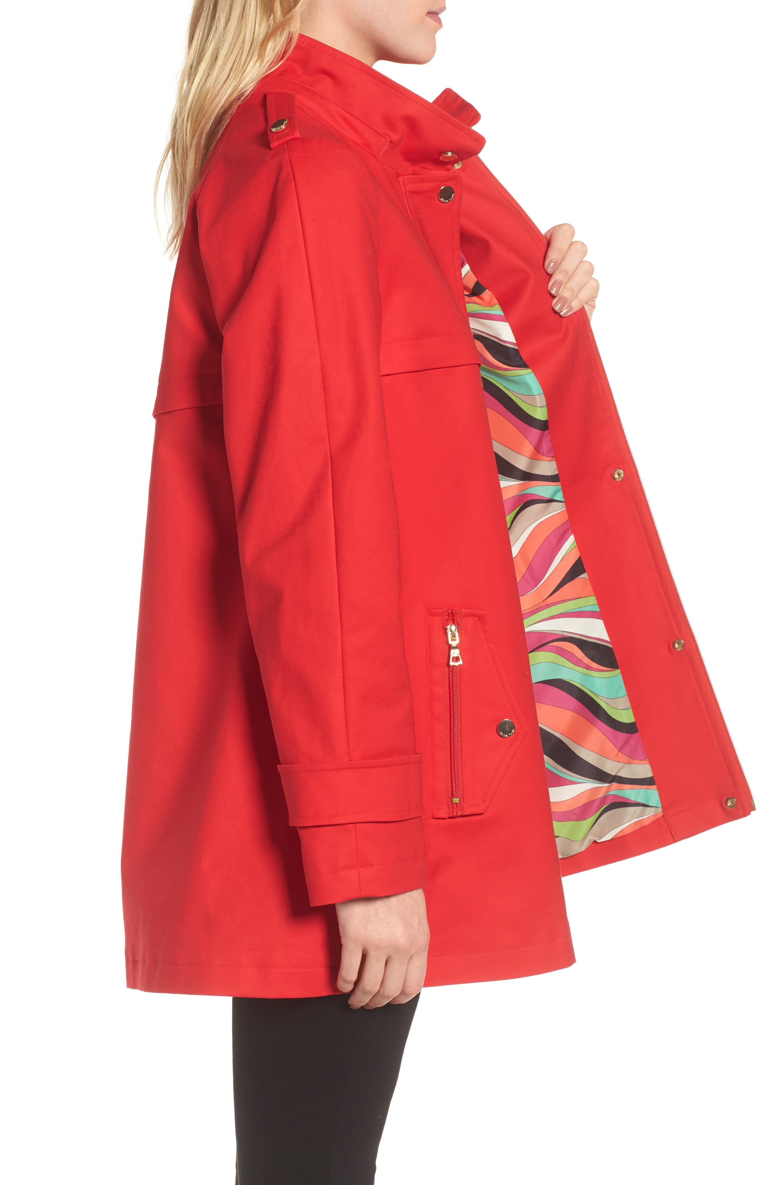 A-Line Rain Jacket,                             Alternate thumbnail 4, color,                             Red