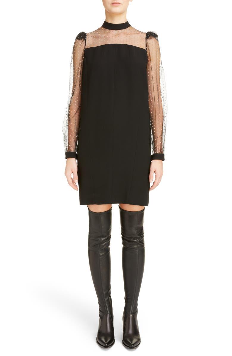 Studded Tulle Sleeve Satin-Backed Crepe Dress