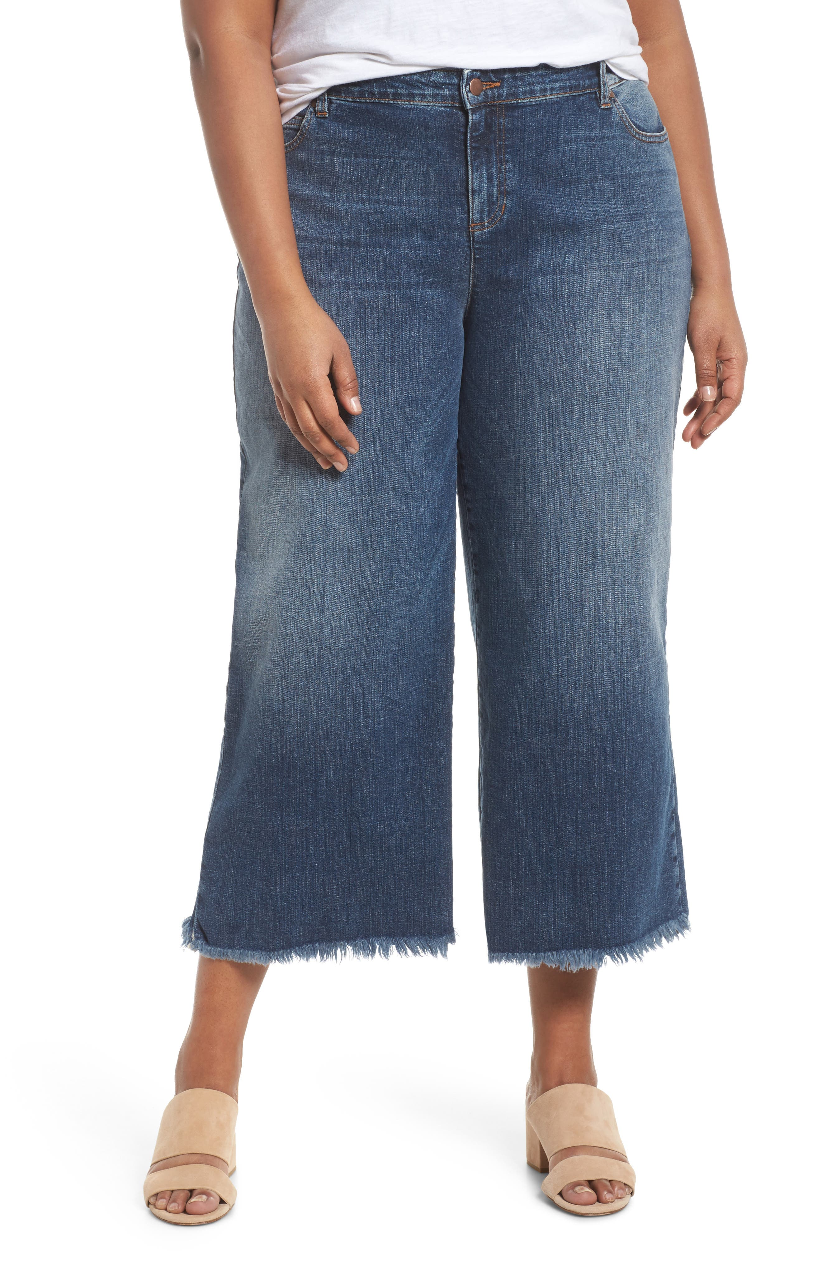 Eileen Fisher Wide Leg Ankle Jeans (Aged Indigo) (Plus Size)
