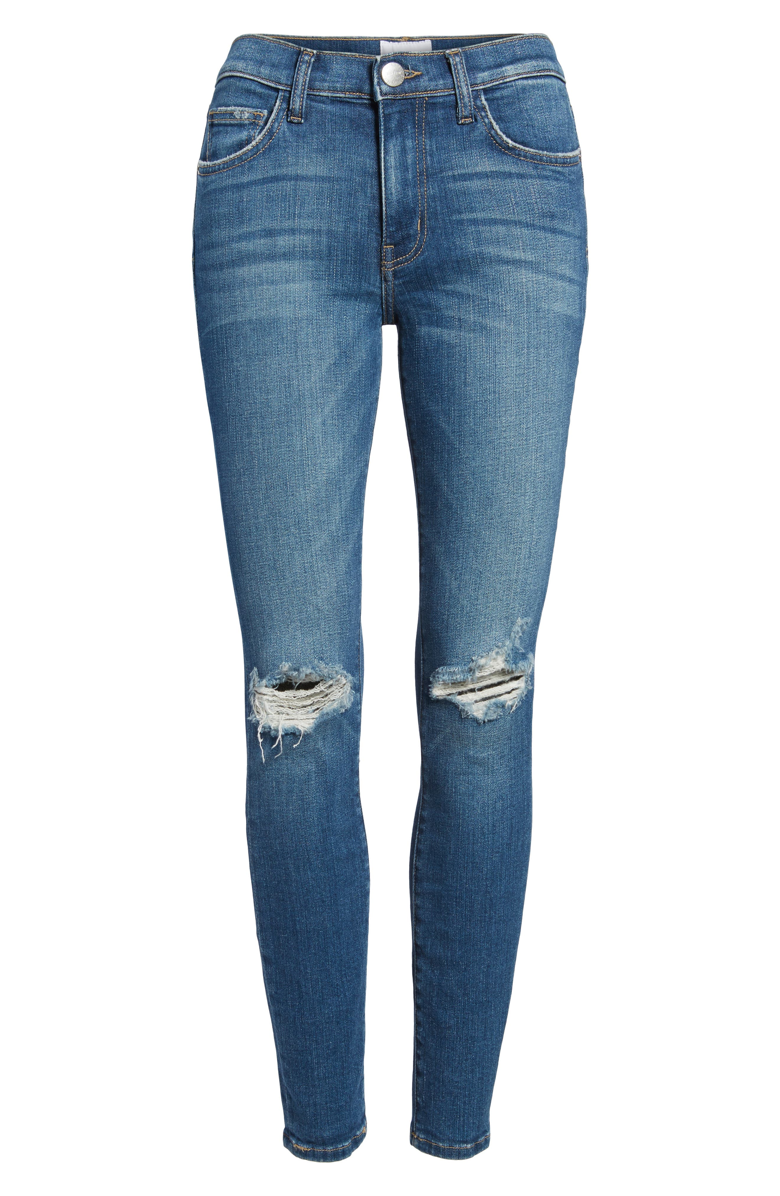 The High Waist Ankle Skinny Jeans,                             Alternate thumbnail 7, color,                             Joey Dark Destroy