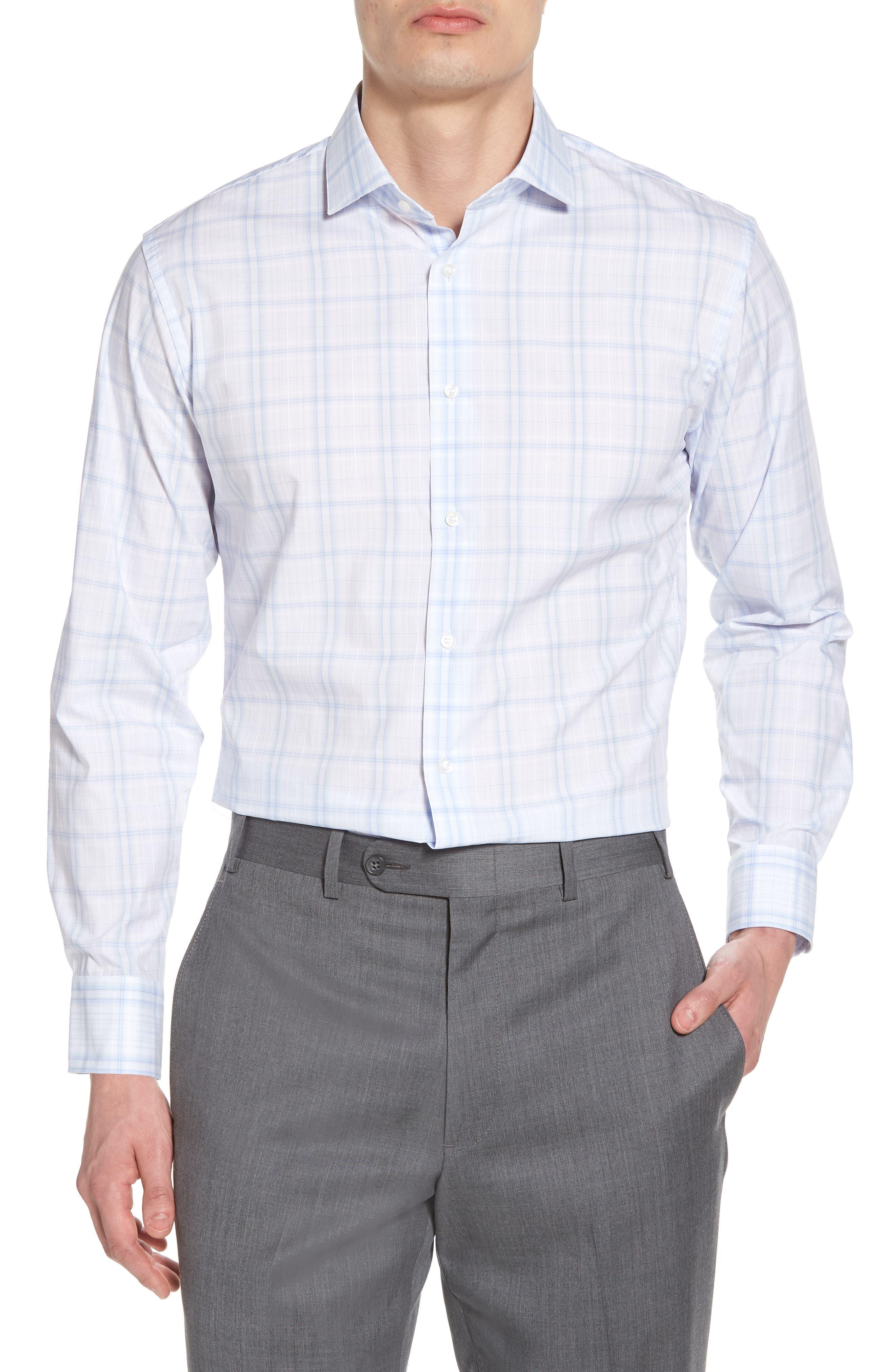 Trim Fit Check Dress Shirt,                         Main,                         color, Blue Xenon