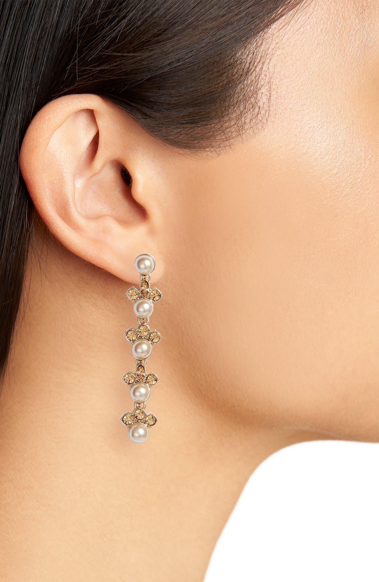 Linear Imitation Pearl Drop Earrings,                             Alternate thumbnail 2, color,                             Gold/ Blush/ Crystal