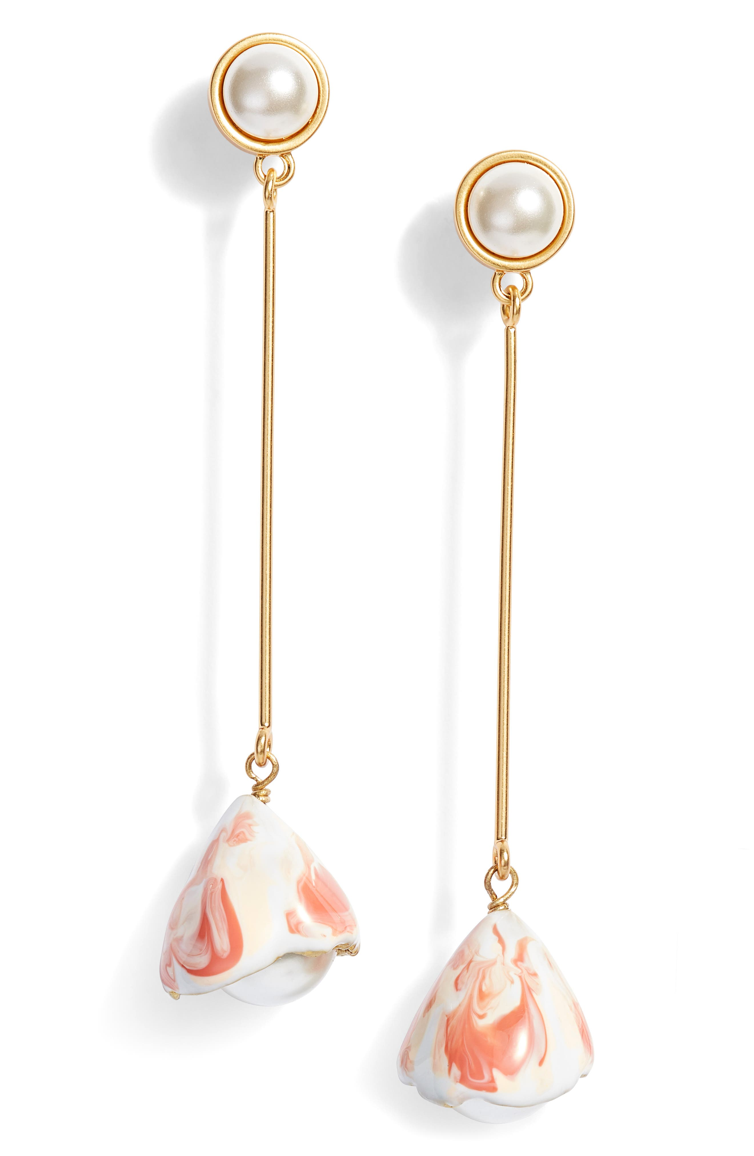 Tory Burch Imitation Pearl Flowerbud Linear Earrings