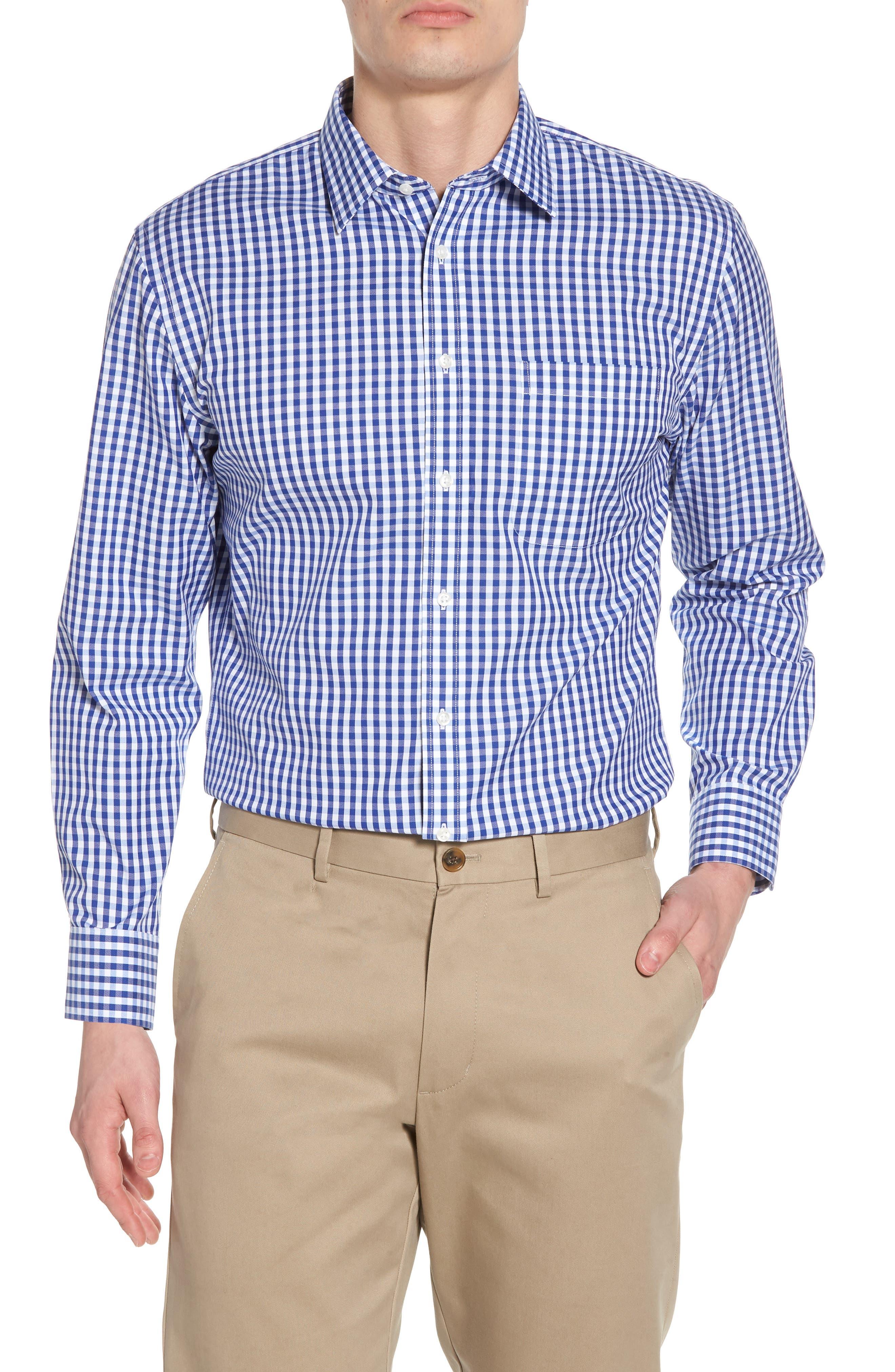 Nordstrom Menu0026#39;s Shop Smartcareu2122 Trim Fit Check Dress Shirt | Nordstrom