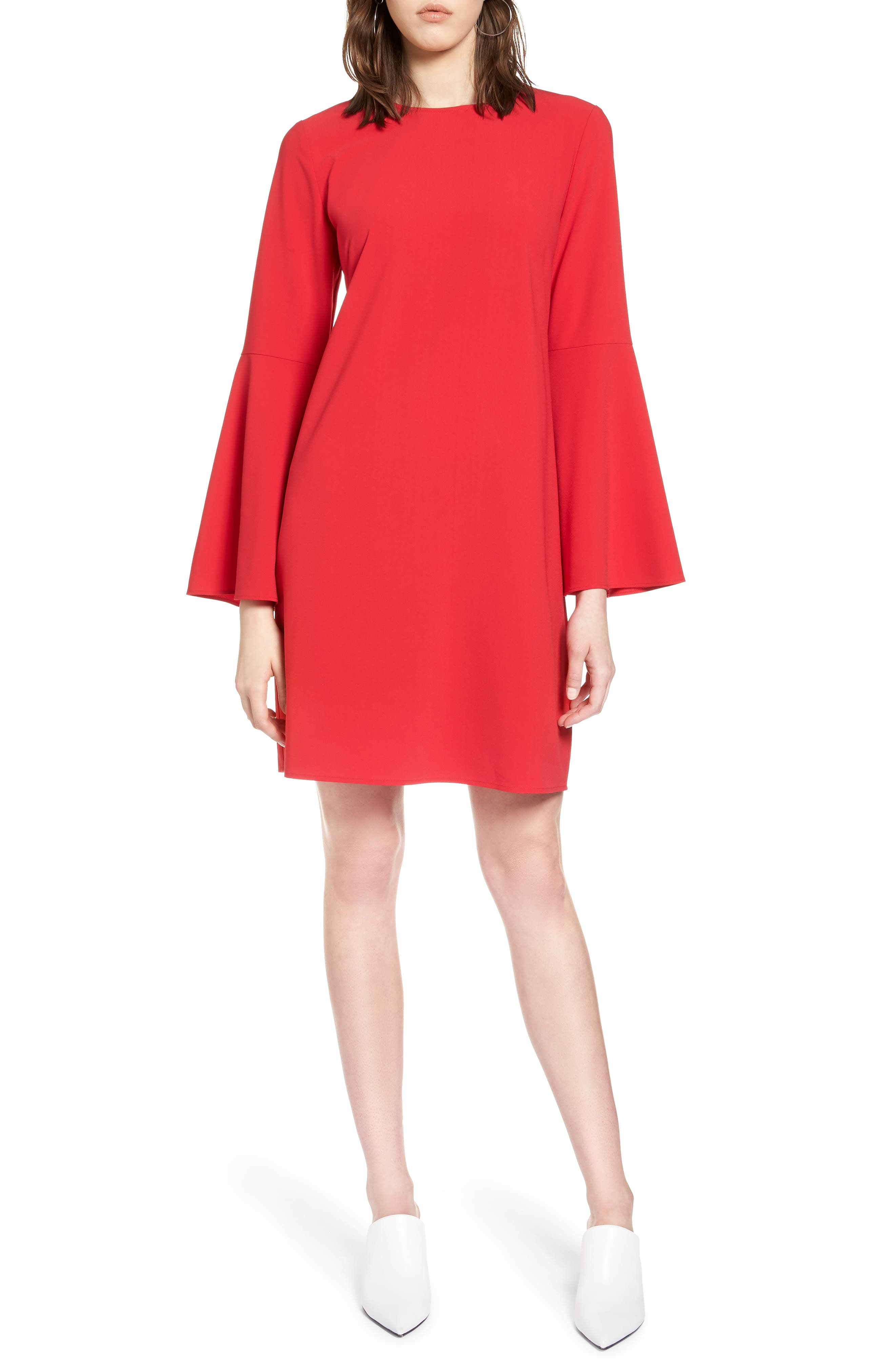 Bow Back Flare Sleeve Dress,                         Main,                         color, Red Lipstick