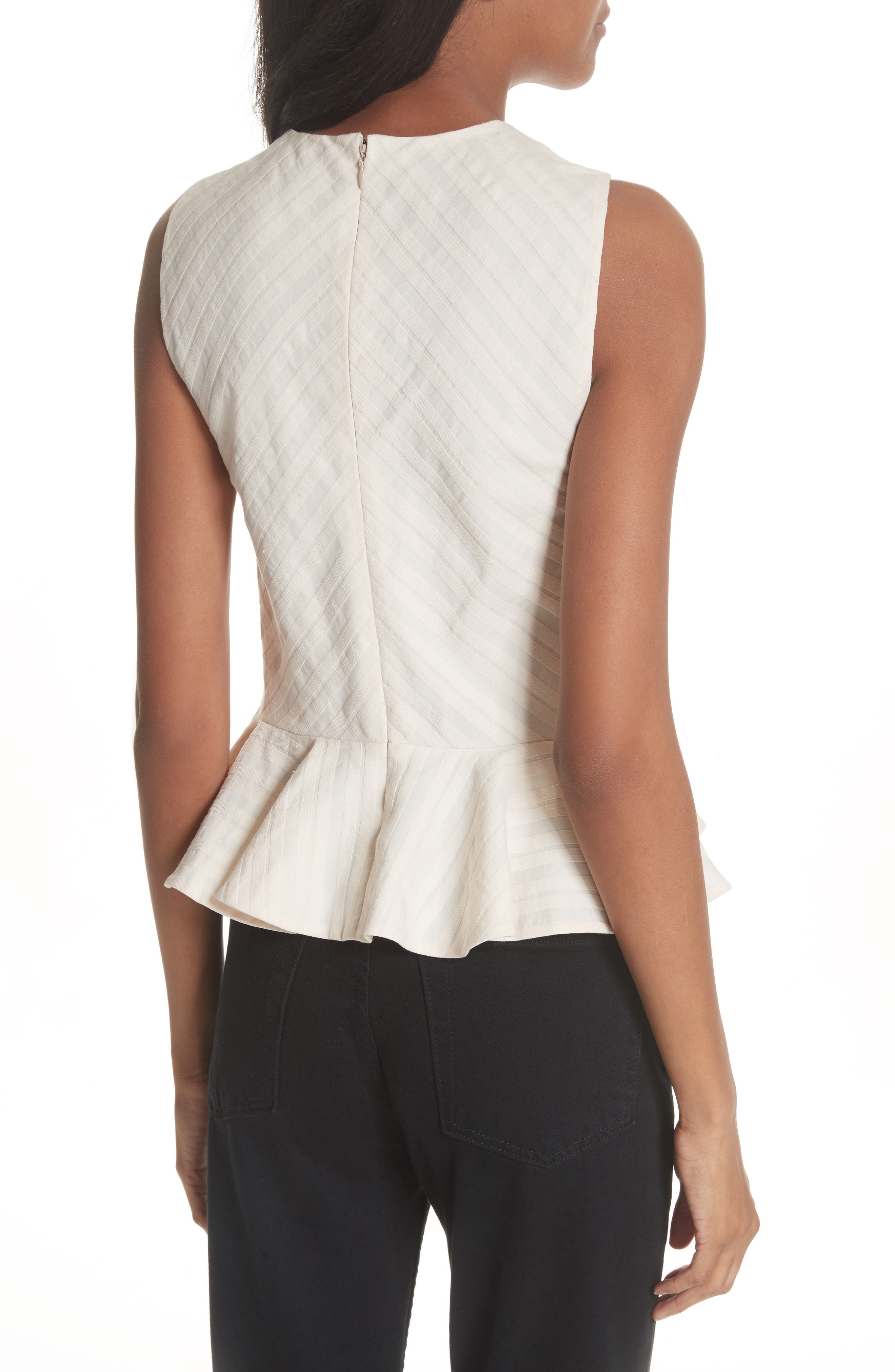 Textured Stripe Peplum Top,                             Alternate thumbnail 2, color,                             Creme Brulee