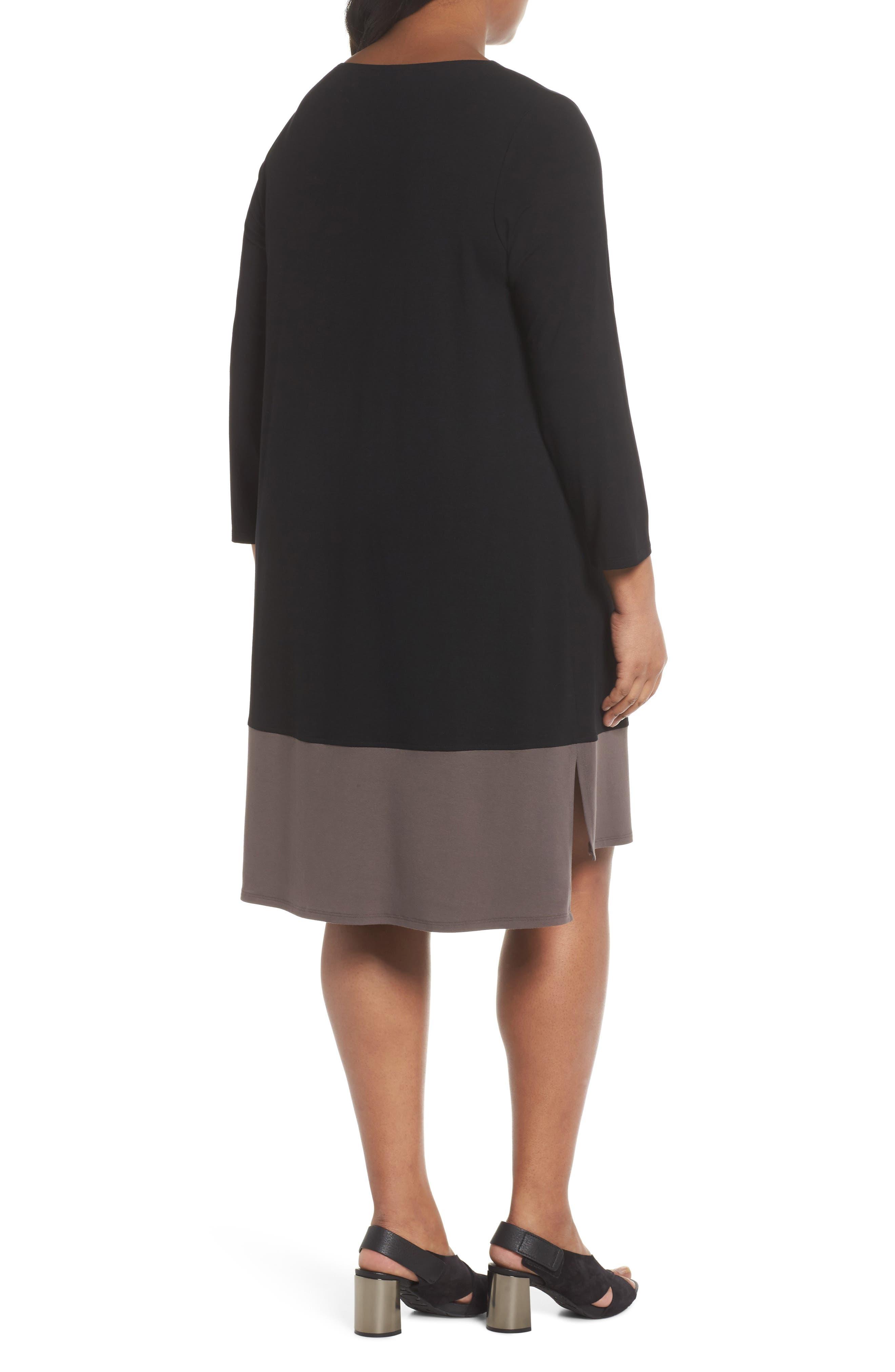 Colorblock Jersey Shift Dress,                             Alternate thumbnail 2, color,                             Black