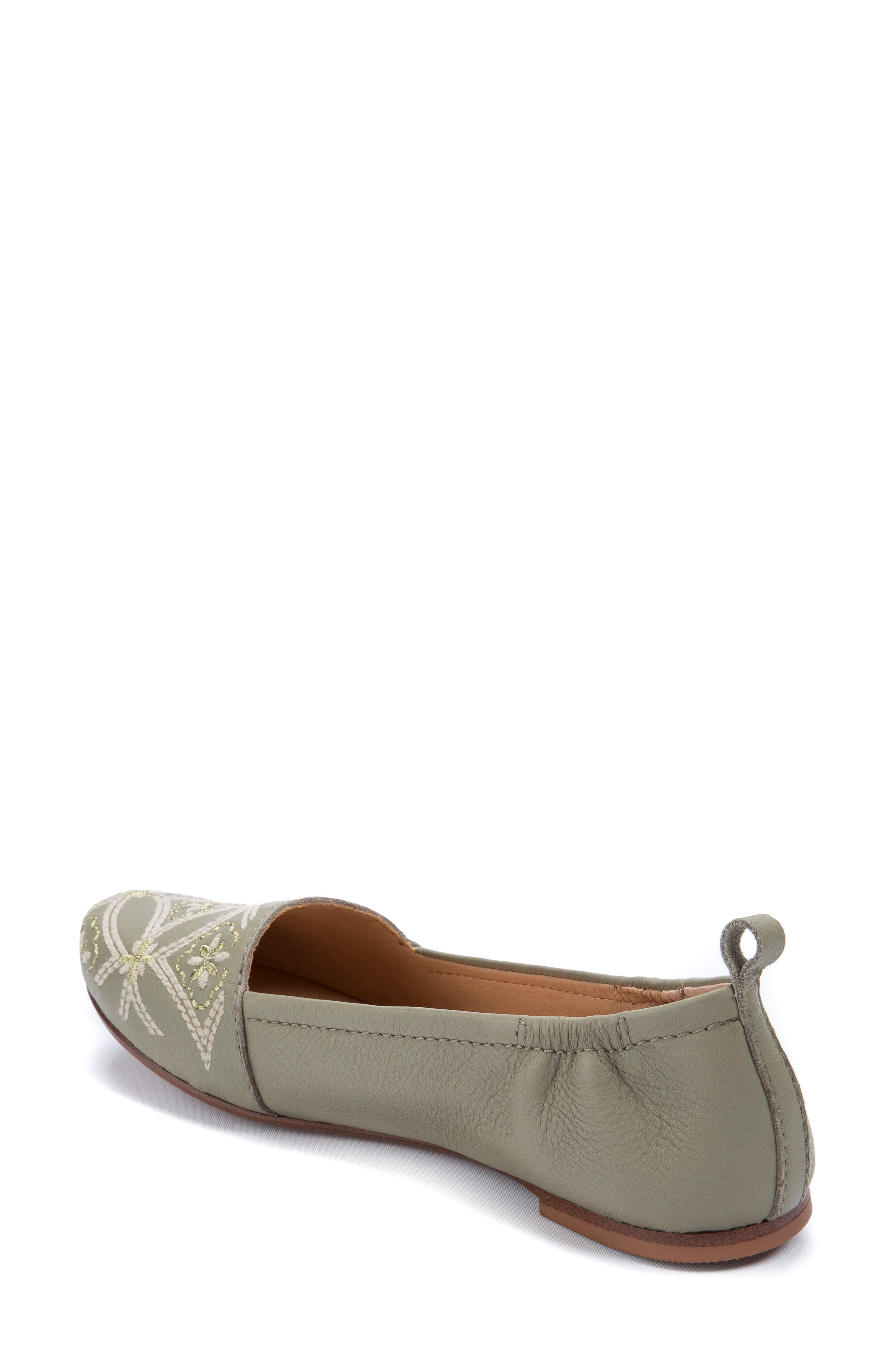 Globe Embroidered Flat,                             Alternate thumbnail 2, color,                             Sage Leather