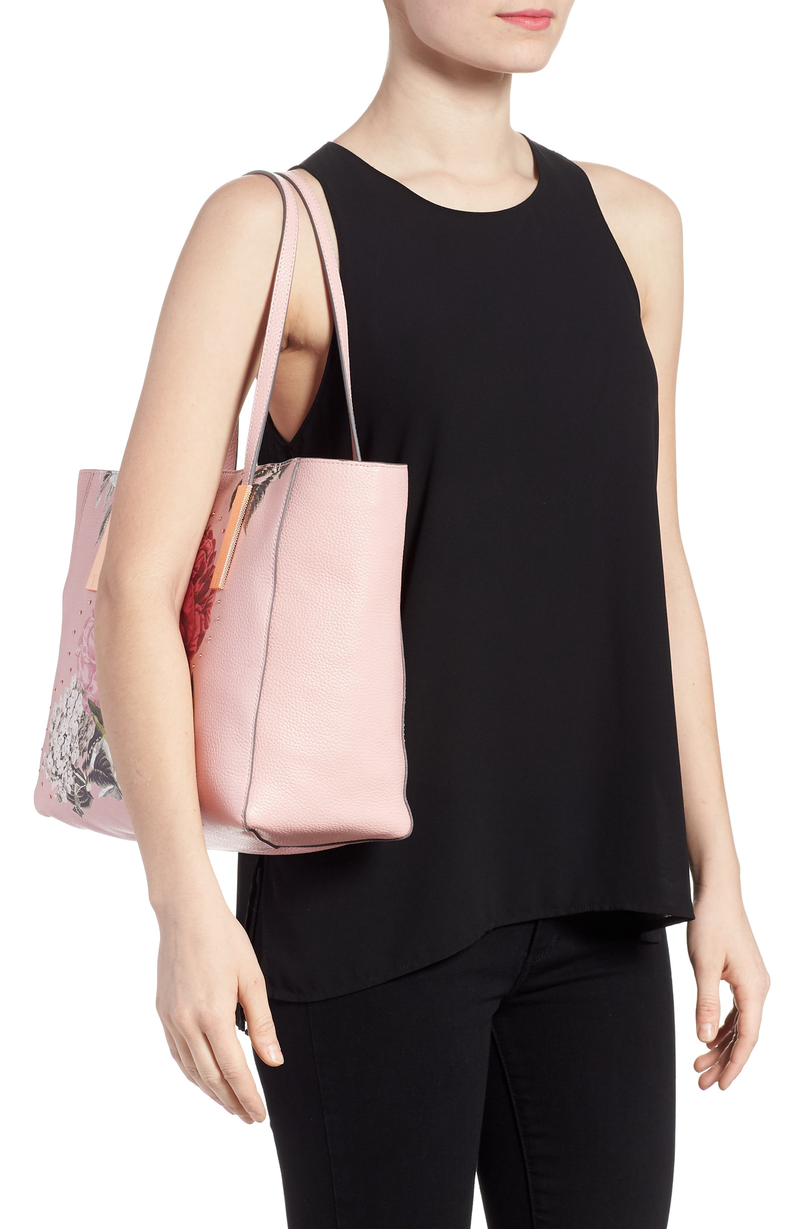 Palace Gardens Large Leather Tote,                             Alternate thumbnail 2, color,                             Dusky Pink