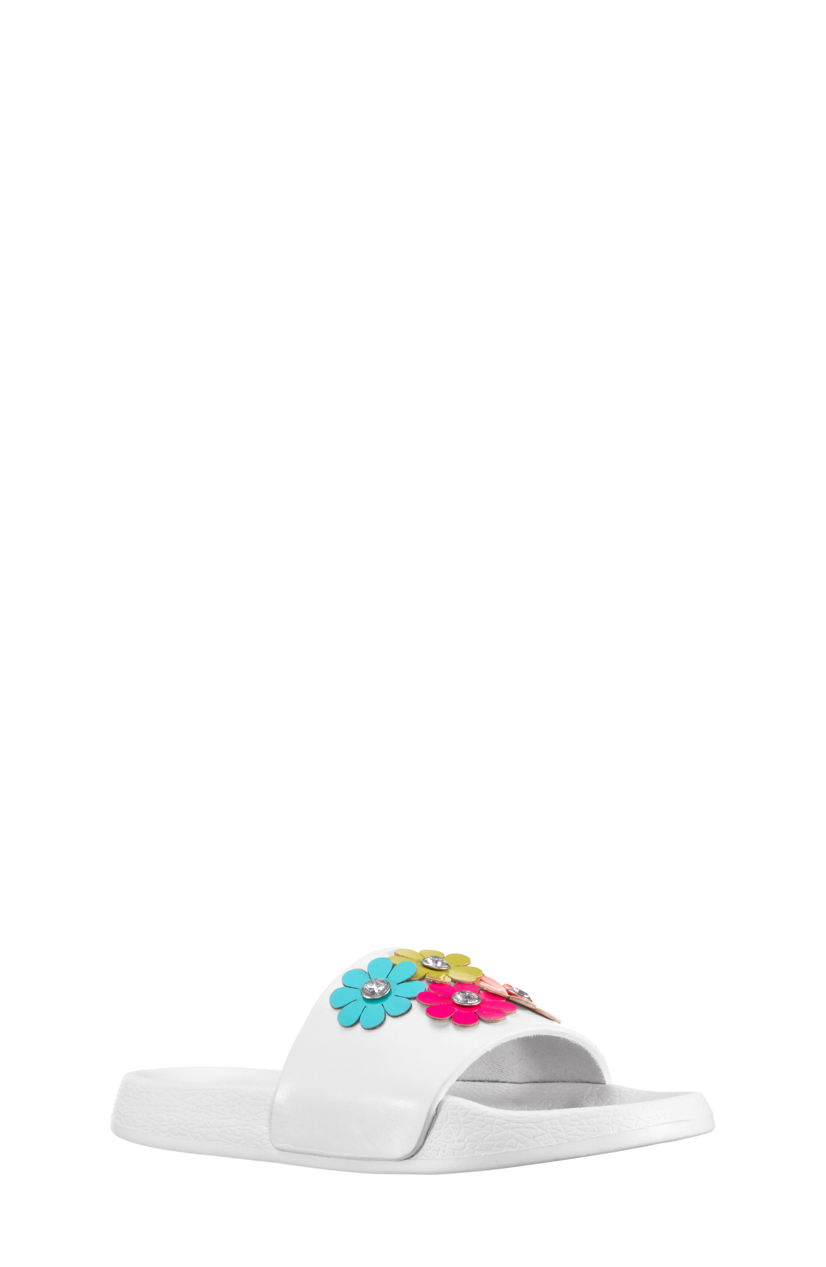 Flowermaid Embellished Slide Sandal,                         Main,                         color, White Smooth