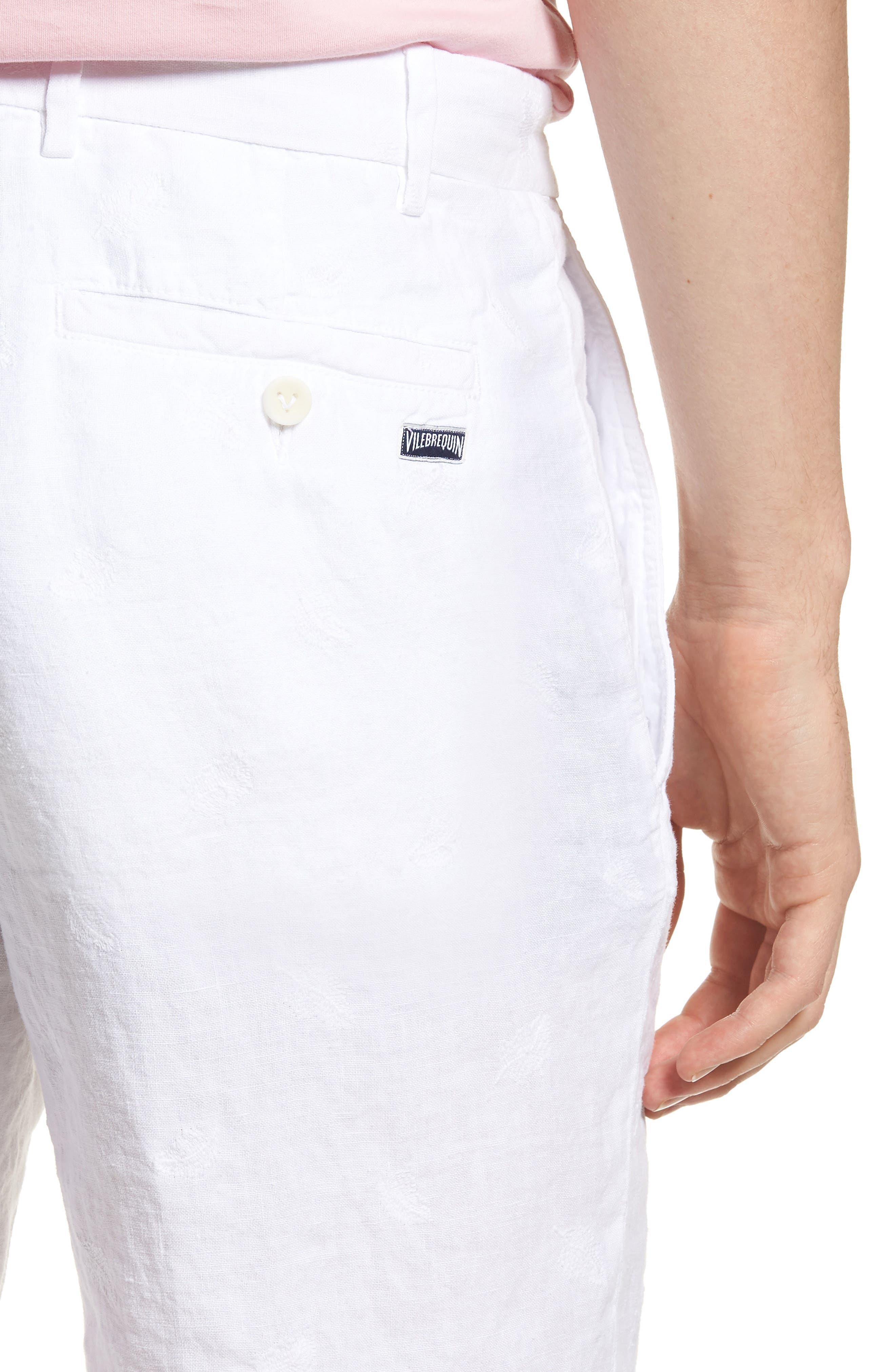 Embroidered Linen Blend Shorts,                             Alternate thumbnail 4, color,                             Blanc