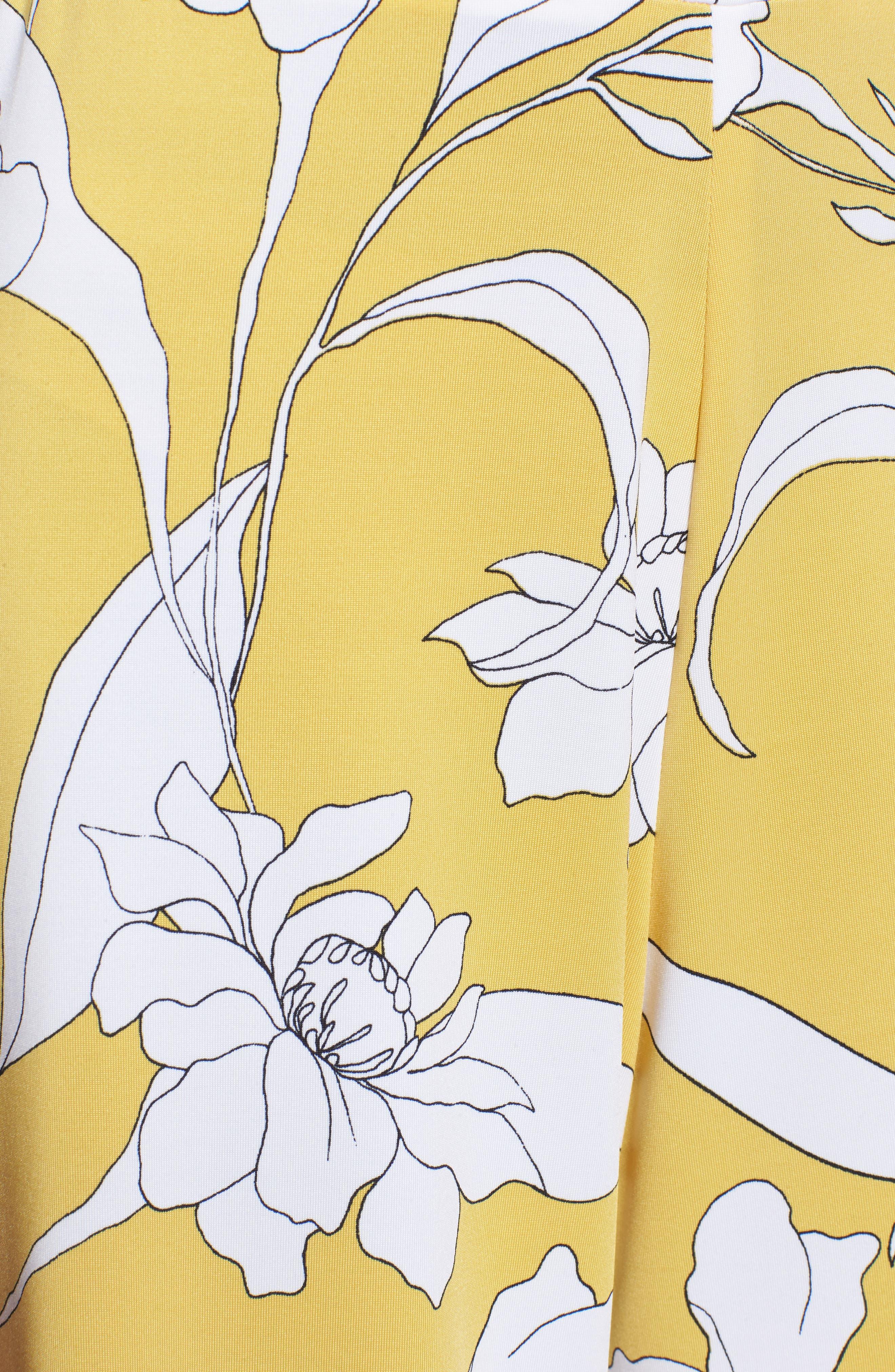 Floral Print Wide Leg Crop Pants,                             Alternate thumbnail 5, color,                             Yellow Floral