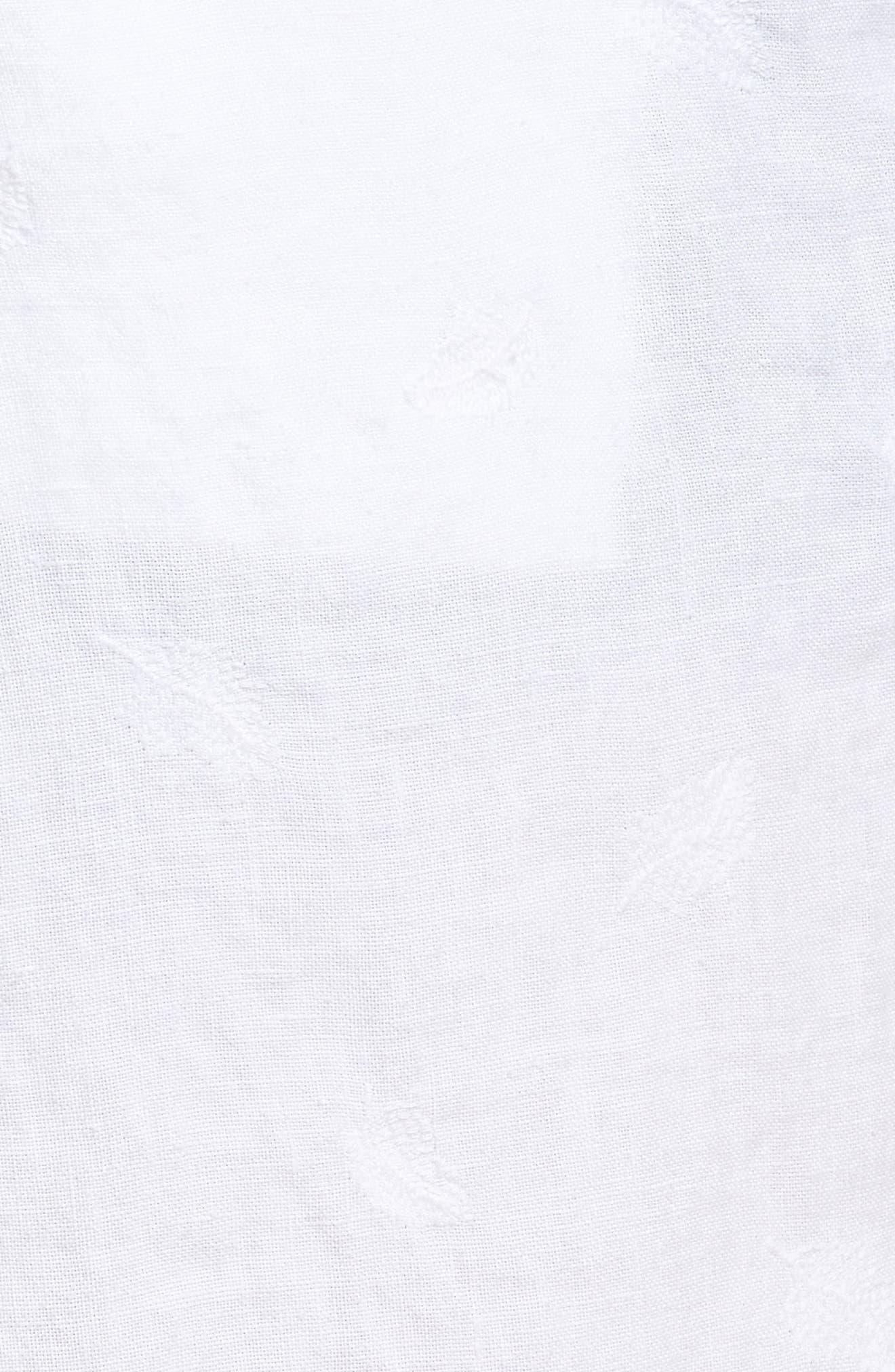 Embroidered Linen Blend Shorts,                             Alternate thumbnail 5, color,                             Blanc