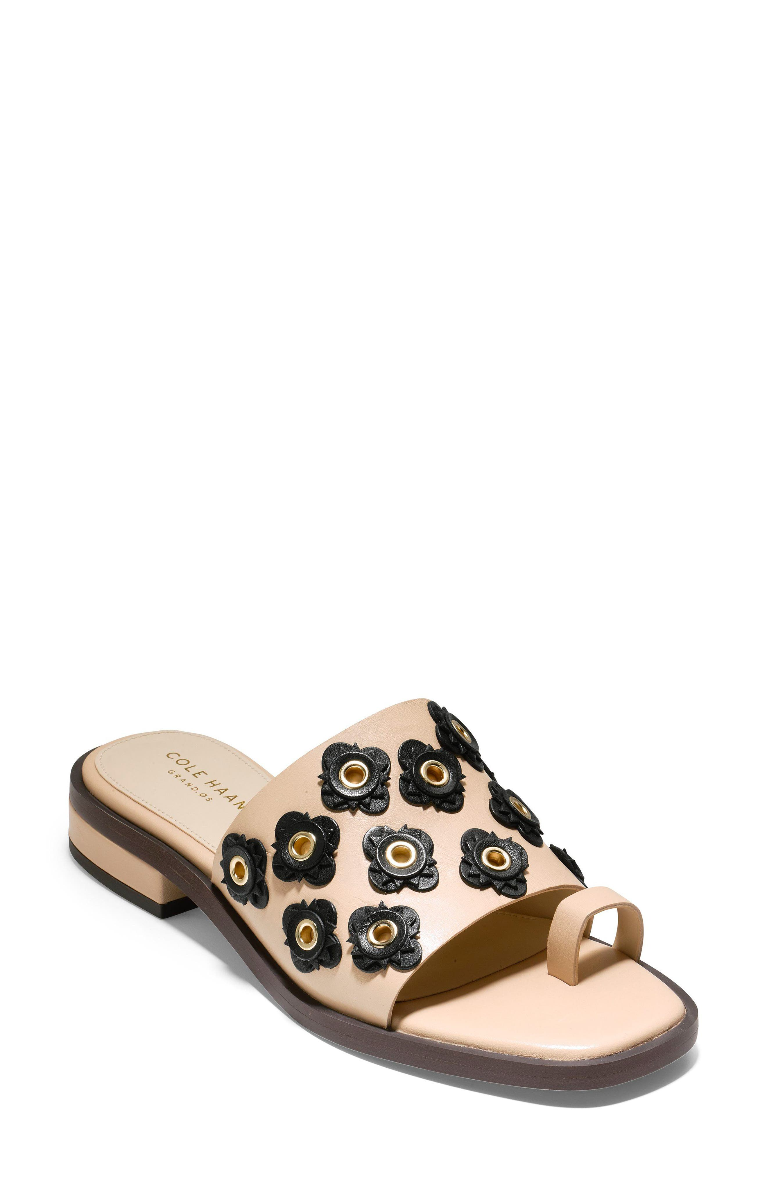 Carly Floral Sandal,                             Main thumbnail 1, color,                             Nude/ Black Leather